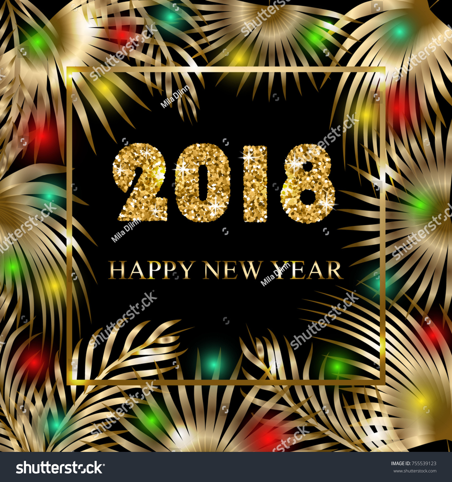 happy new year 2018 greeting banner with palm trees and garlands tropical holiday concept