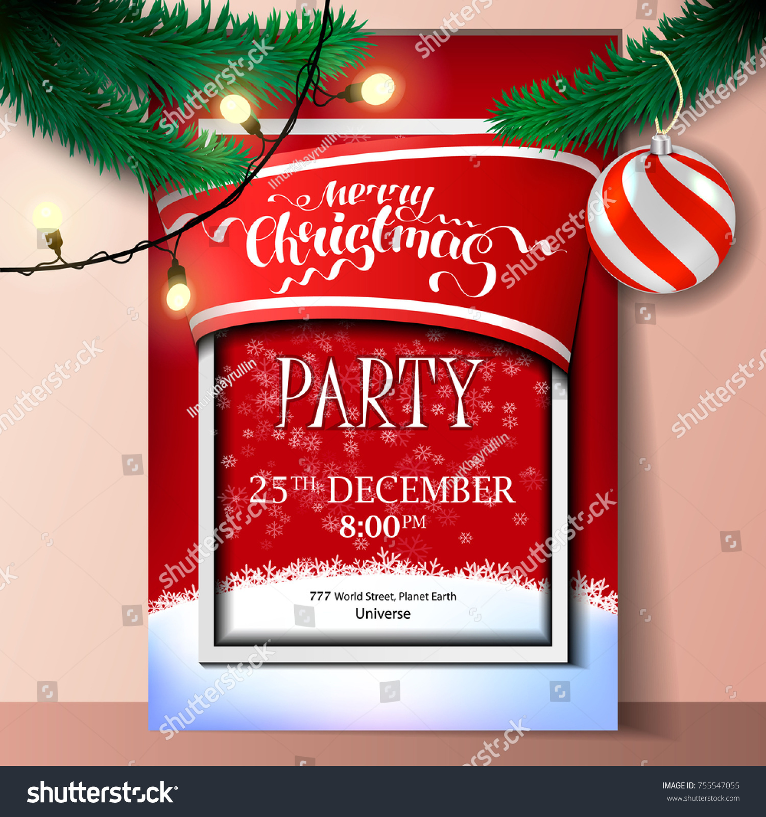 Merry Christmas Party Invitation Card Stock Vector (Royalty Free) 755547055