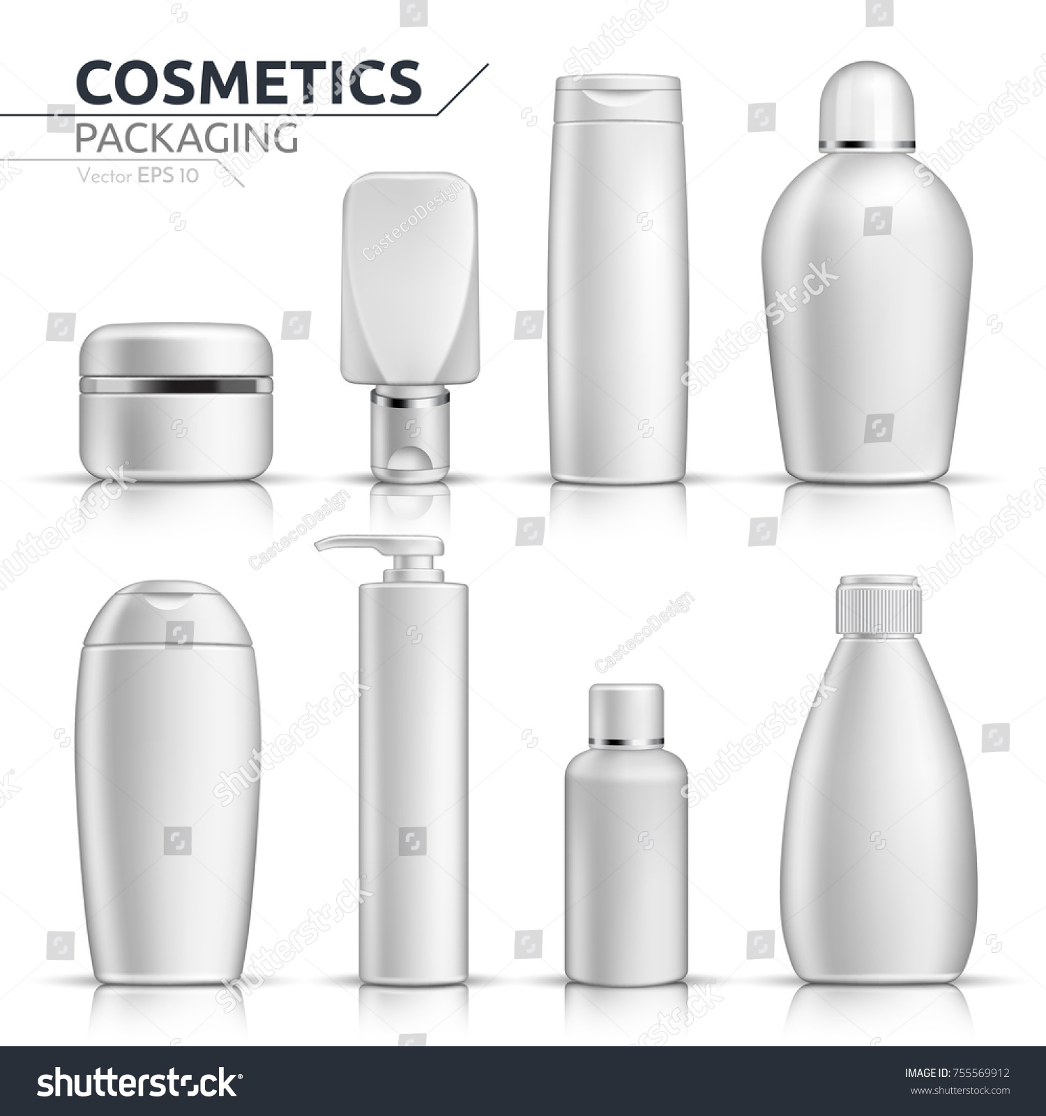 Realistic Cosmetic Bottles Mock Set On Stock Vector 755569912 ...