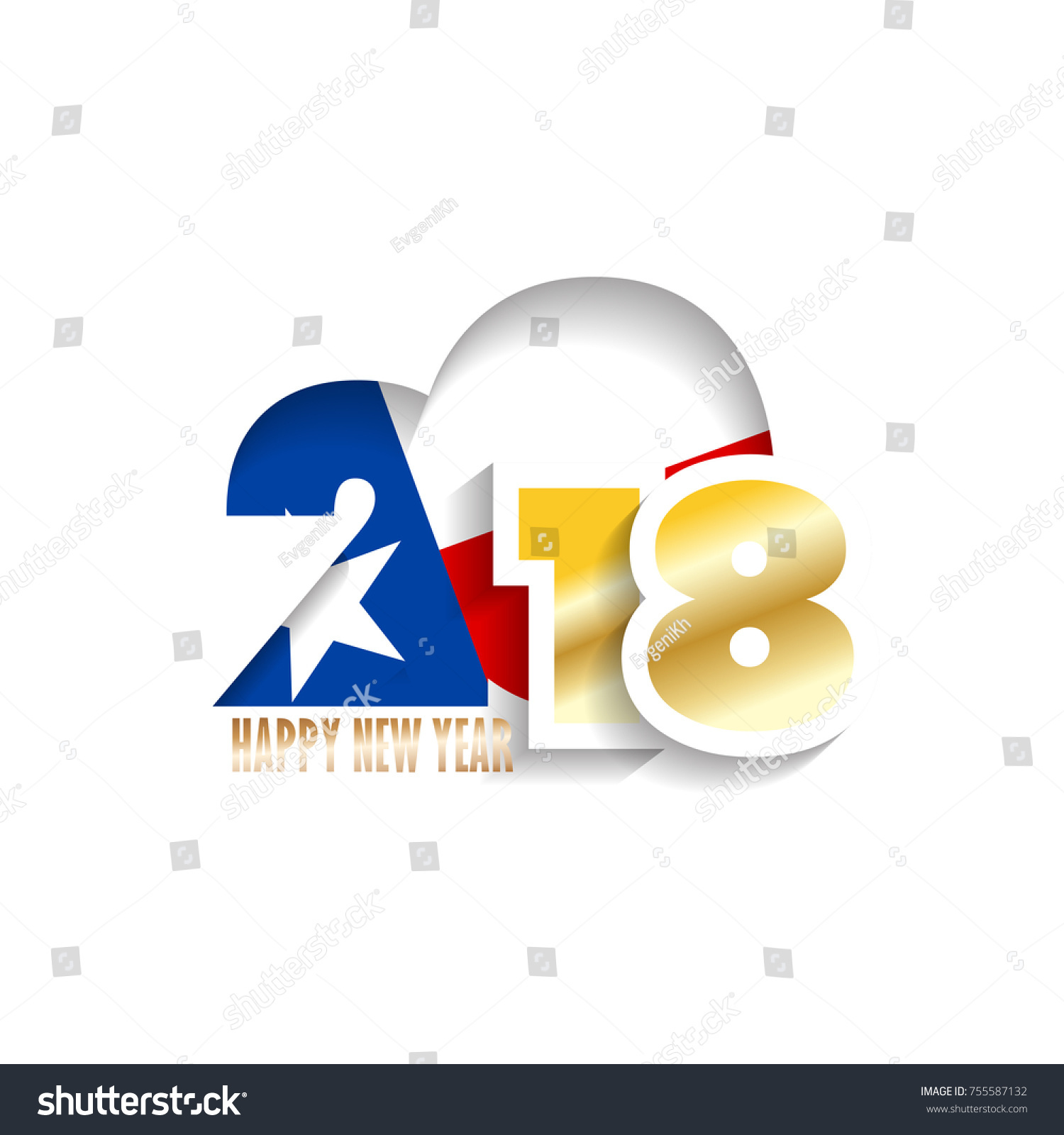 year 2018 with texas flag pattern happy new year design vector illustration