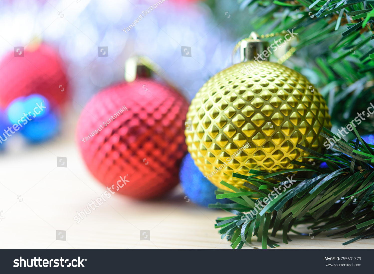Decorated Christmas Tree Gold Red Blue Stock Photo Edit Now 755601379