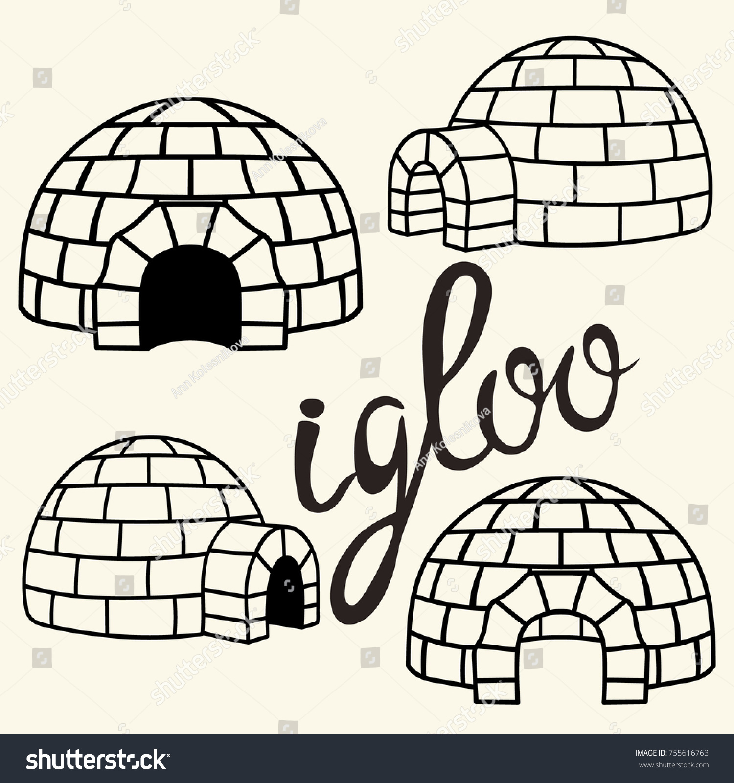 Ice House Igloo Set Vector Simple Imagem Vetorial De Banco 755616763    Shutterstock