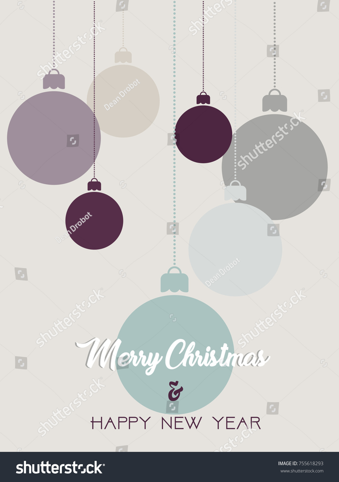 Merry Christmas Happy New Year Poster Stock Vector Royalty Free