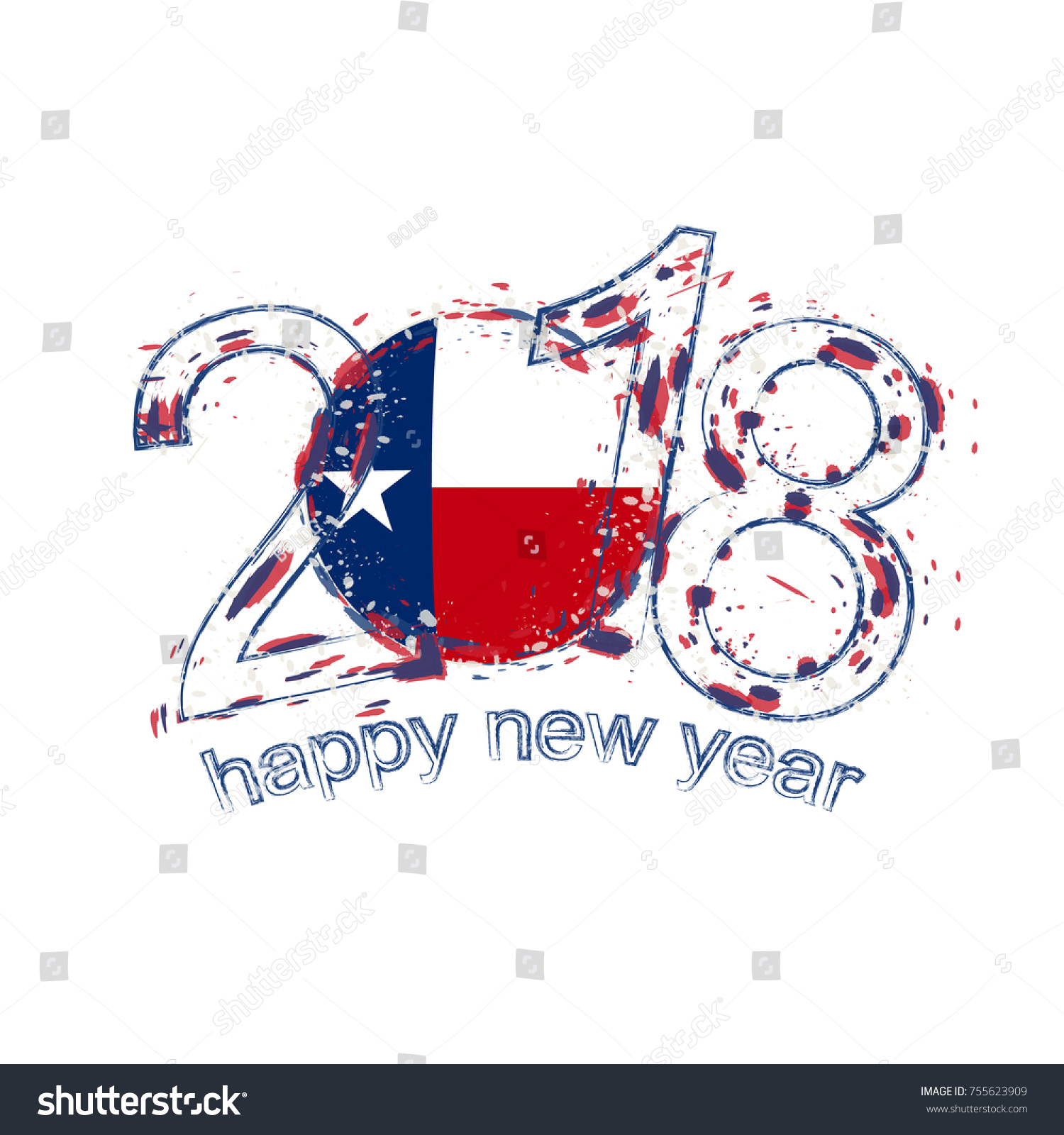 2018 happy new year texas us state grunge vector template for greeting card calendars 2018