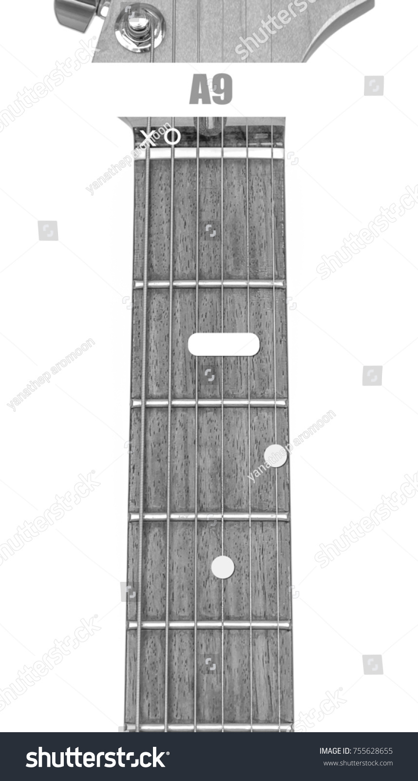 Guitar Chord A 9 Black White Isolate Stock Photo Royalty Free