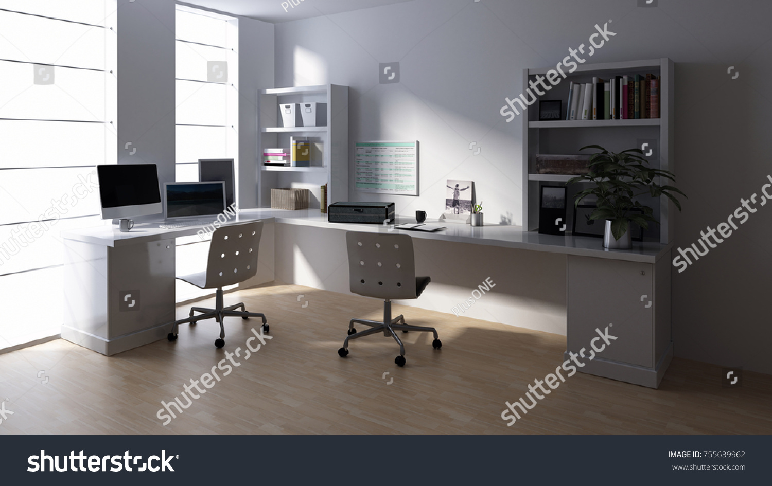 bright office. Desk With Computer At Empty Workstation In Bright Office Room. 3d Rendering R