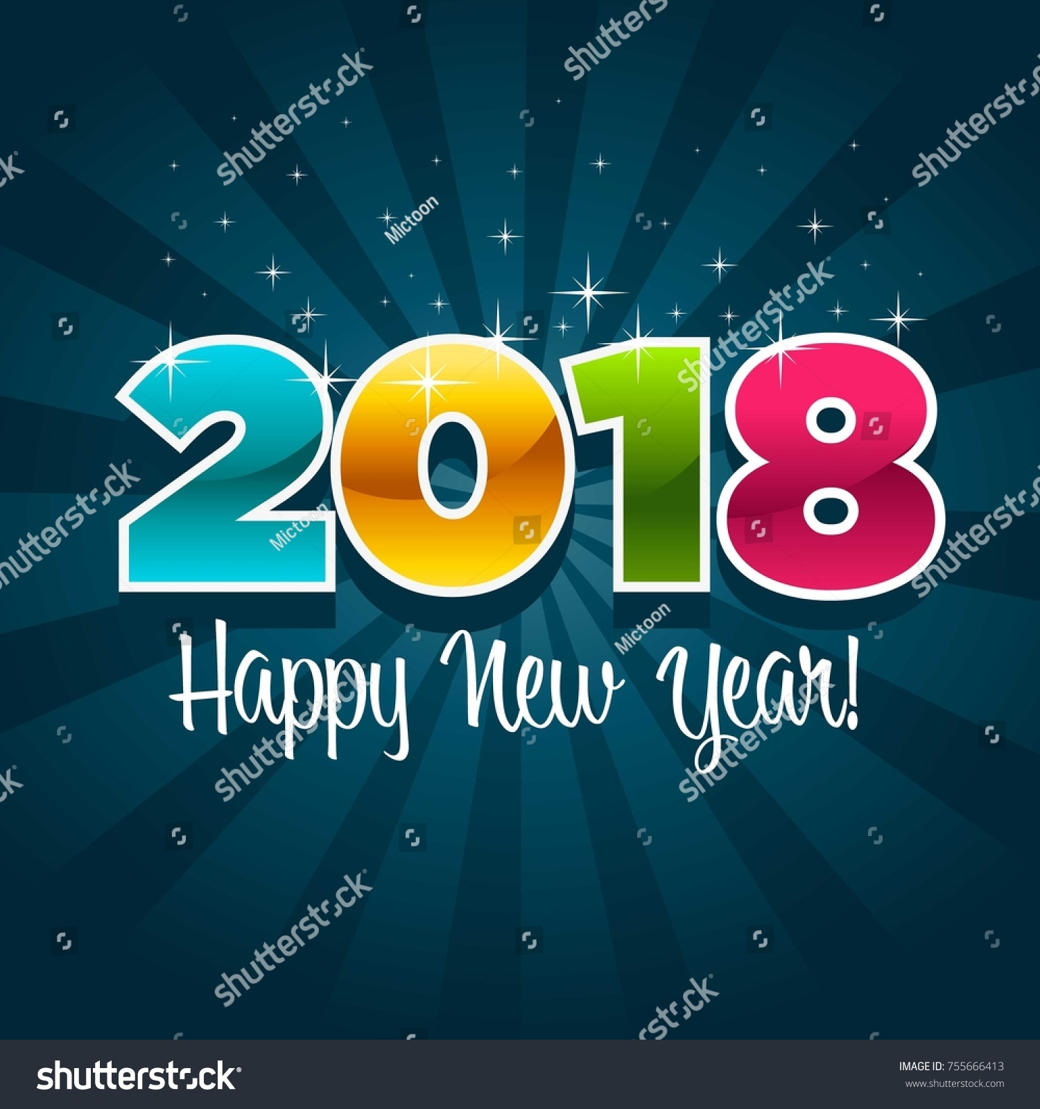 happy new year 2018 greeting card stock vector 755666413