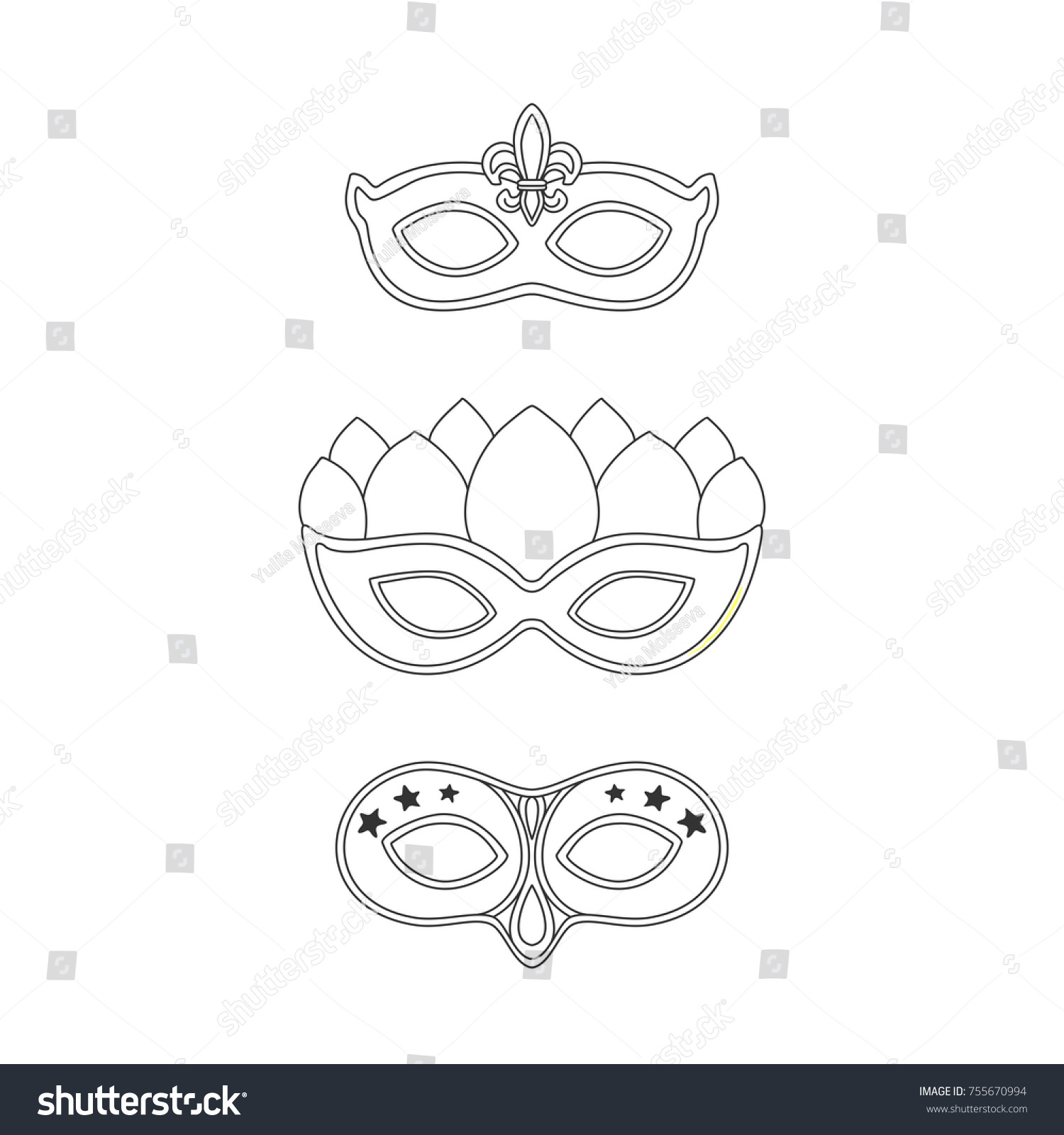 masquerade carnival masks template stock vector royalty free