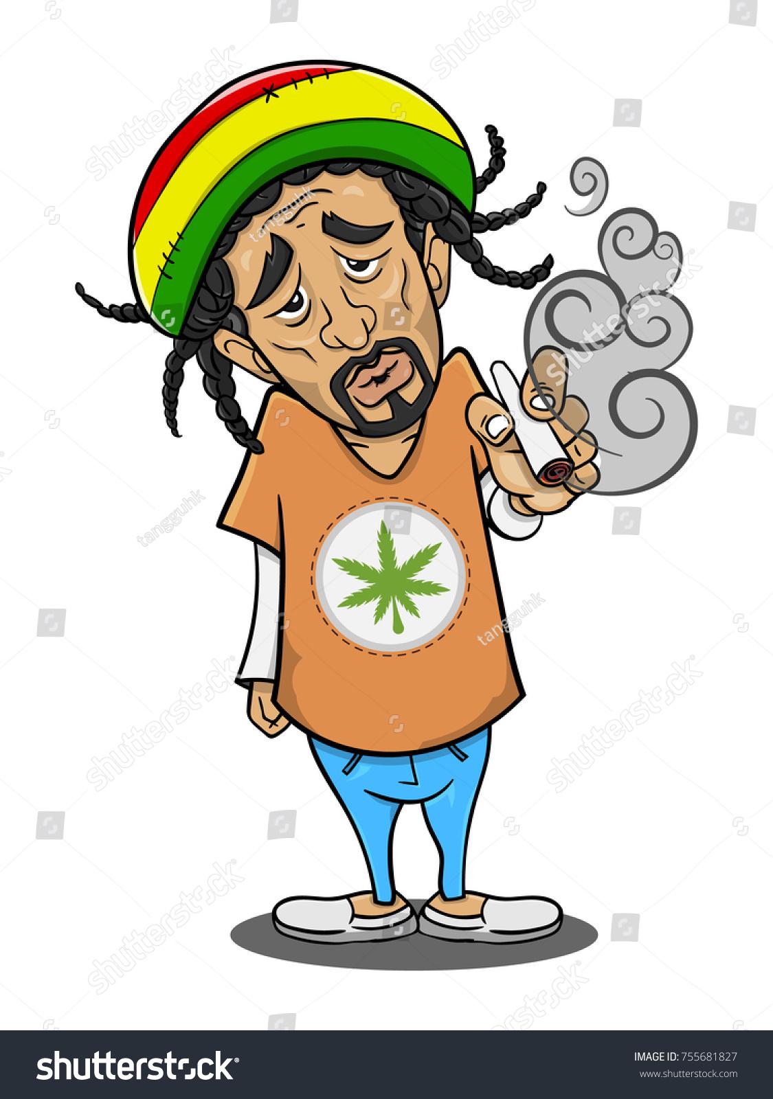 Man Smoking Cannabis Cartoon Vector Stock Vector Royalty Free