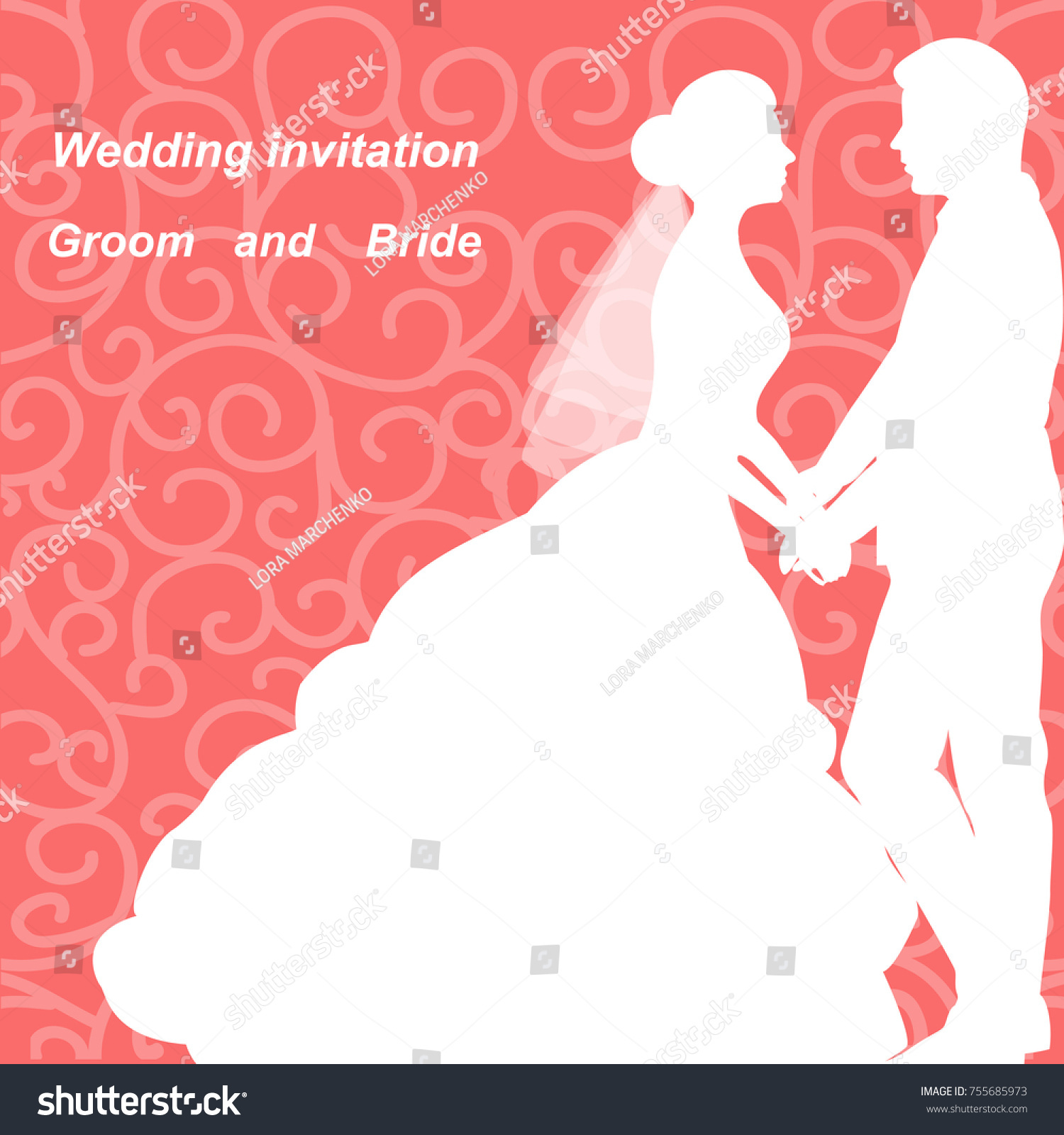 Wedding Invitation Bride Groom On Abstract Stock Illustration ...