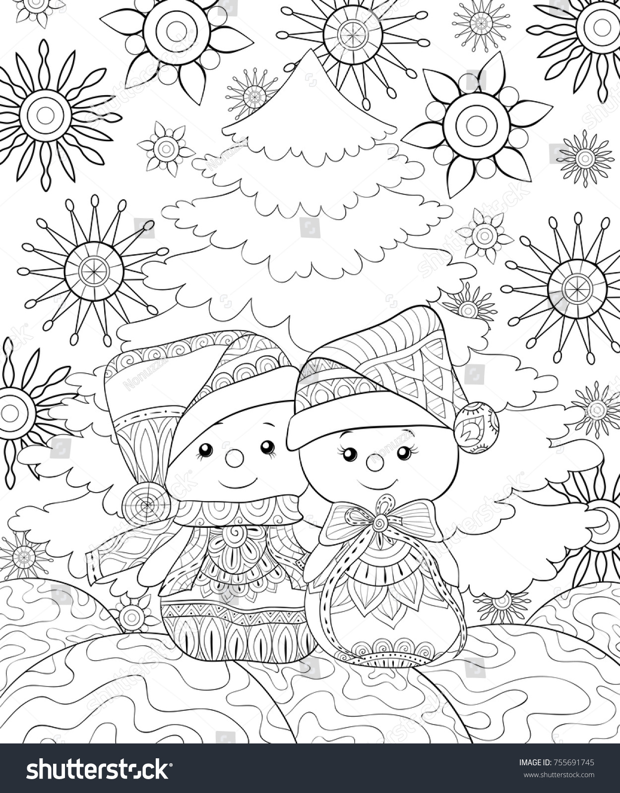 Adult Coloring Pagebook Pair Snowmen On Stock Vector (Royalty Free ...