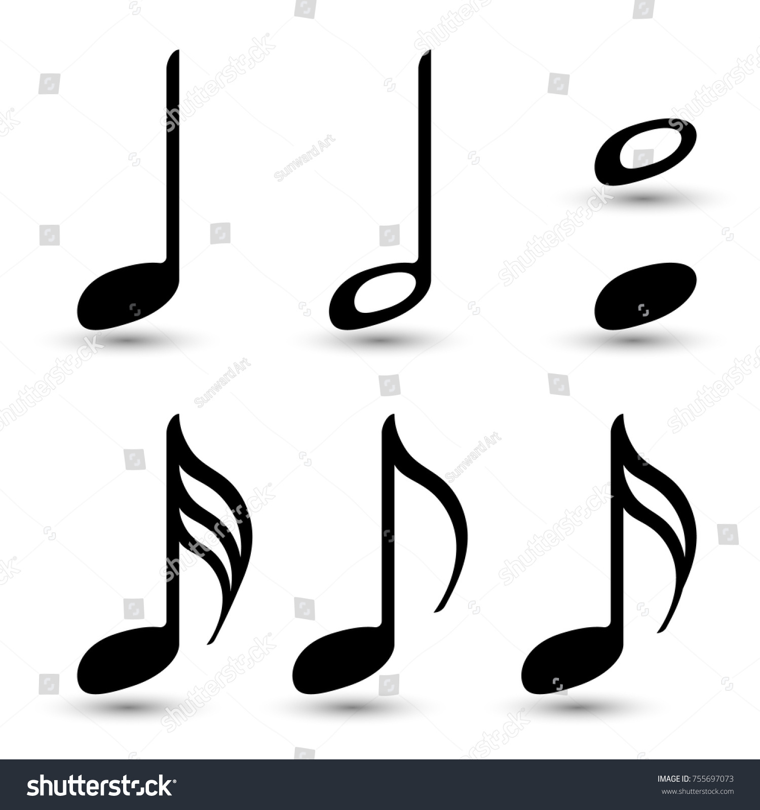 Music note icons vector set black stock vector 755697073 music note icons vector set black symphony or melody signs isolated on white background biocorpaavc