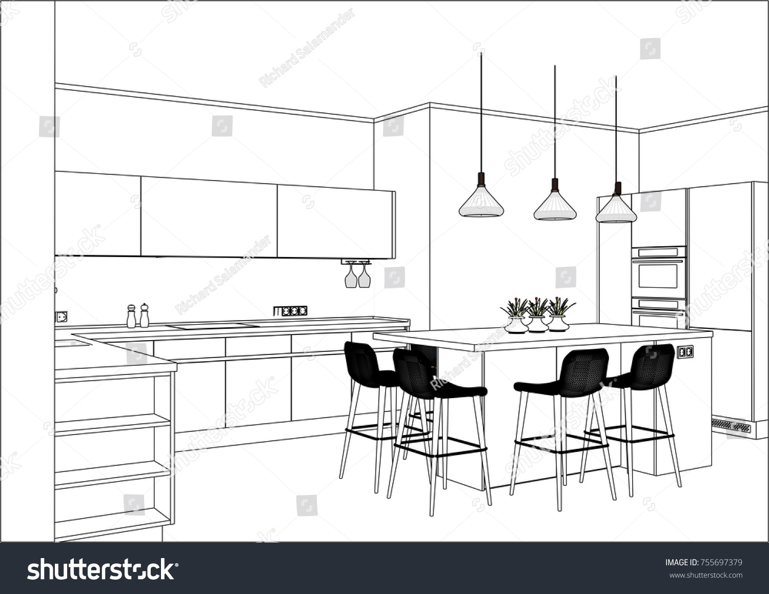 Elegant 3 D Vector Sketch Modern Kitchen Design Stock Vector 755697379    Shutterstock