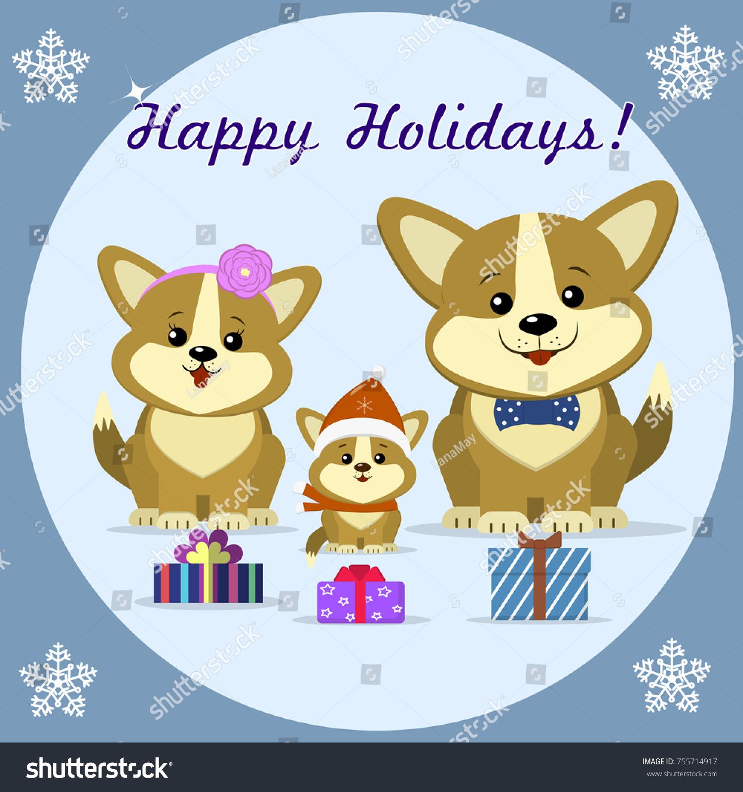 Cute Cartoon Three Dog Corgi Family Stock Illustration 755714917 ...