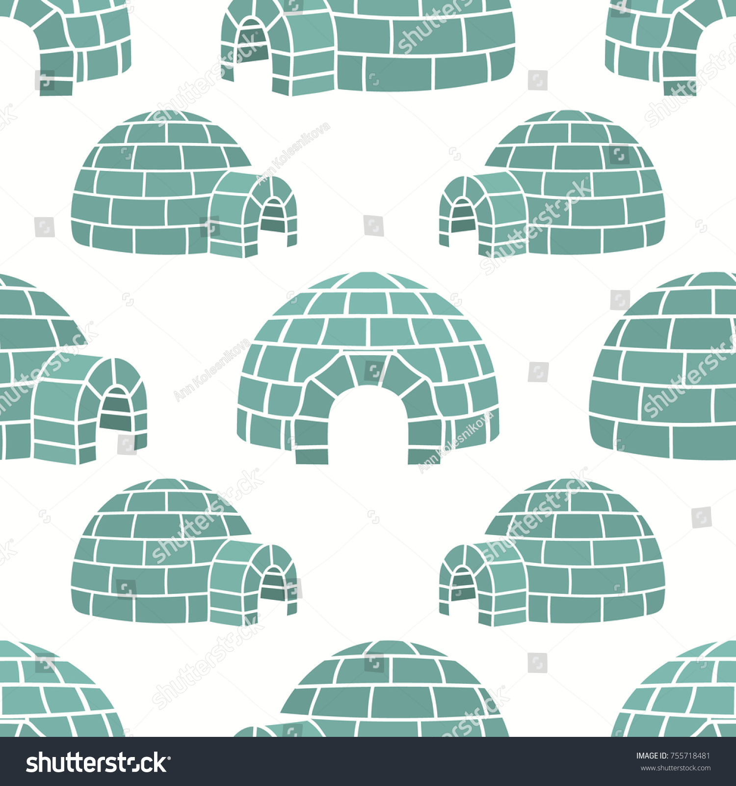 Ice house igloo vector color seamless pattern  isolated on white  House  from ice blocks. Ice House Igloo Vector Color Seamless Stock Vector 755718481