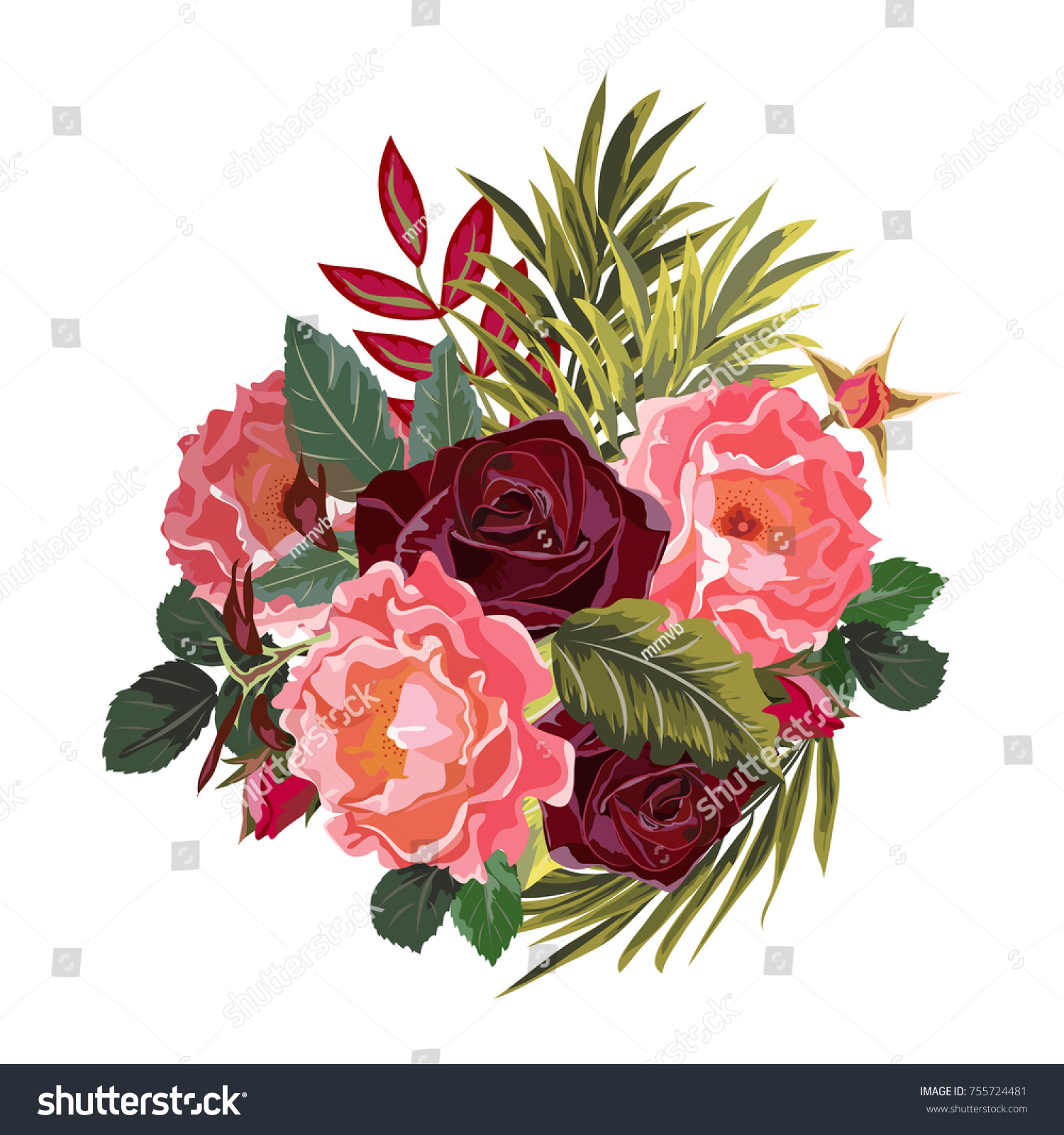 Bouquet Burgundy Pink Roses Decor Elements Stock Vector HD (Royalty ...