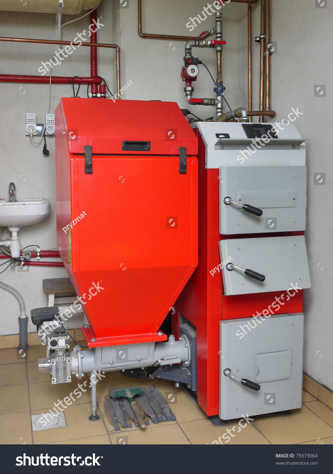 House Boiler Room Coalfired Central Heating Stock Photo