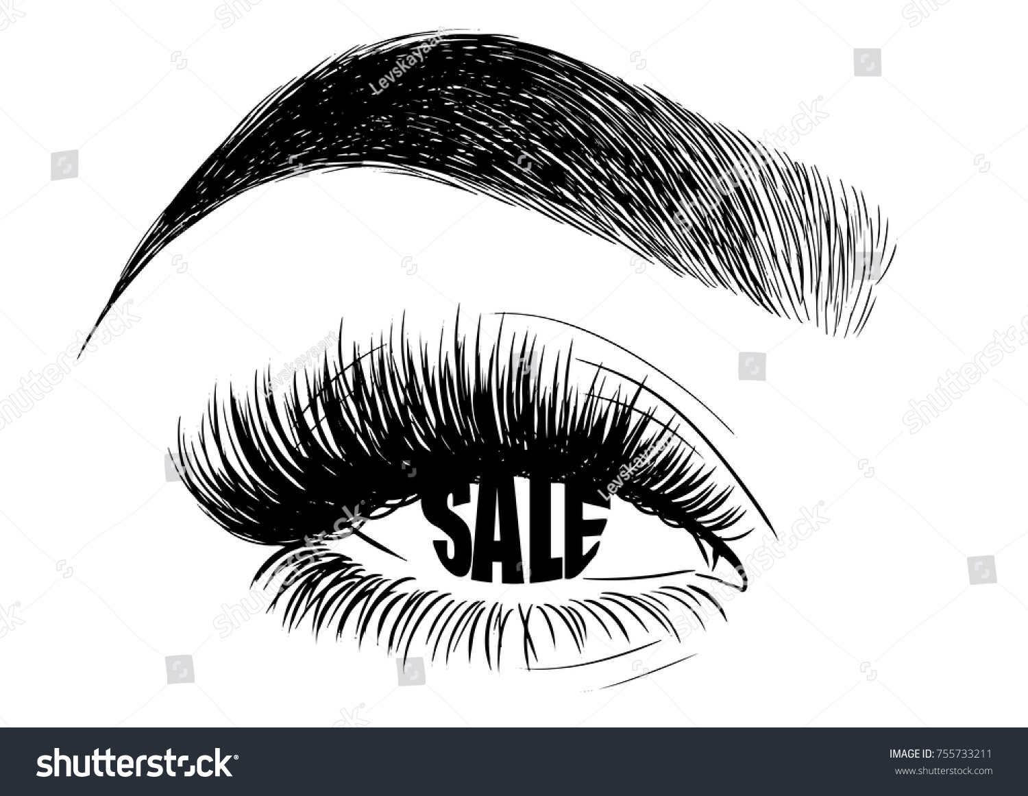Womens Makeup Look Eyebrows Lashes Sale Stock Vector Royalty Free
