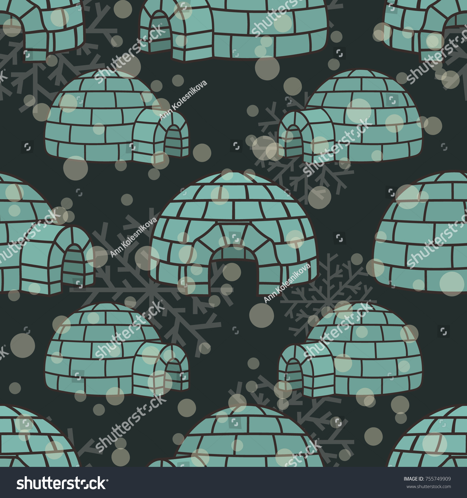 Ice house igloo vector color seamless pattern  House from ice blocks design  for print. Ice House Igloo Vector Color Seamless Stock Vector 755749909