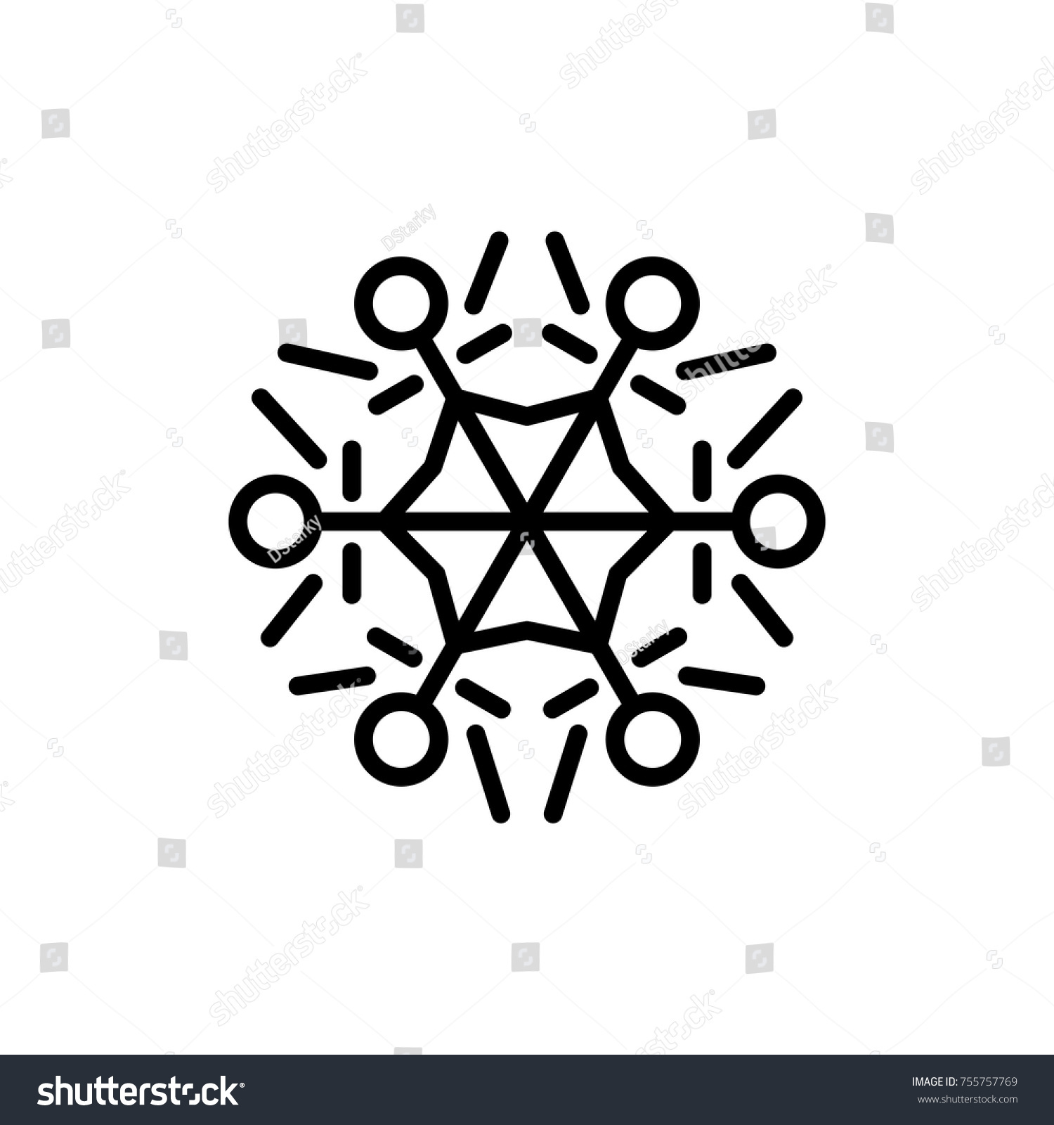 Premium Snowflake Icon Or Logo In Line Style High Quality Sign And