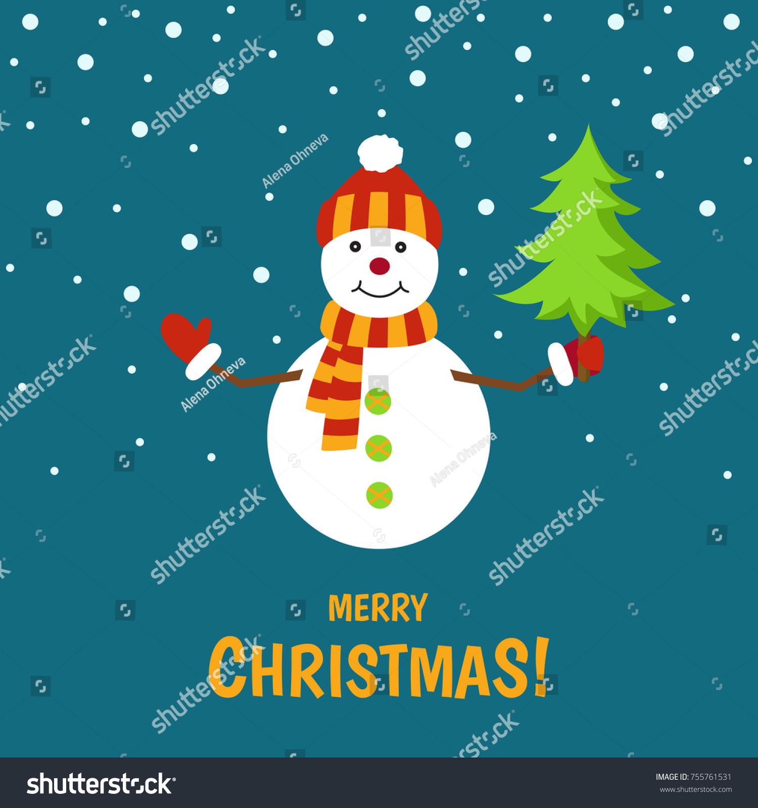Cute Snowman On Winter Landscape Christmas Stock Vector (Royalty ...