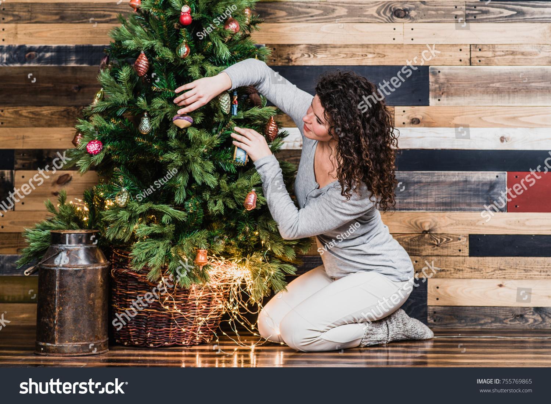 Woman Dressing Christmas Tree Christmas New Stock Photo 755769865 ...
