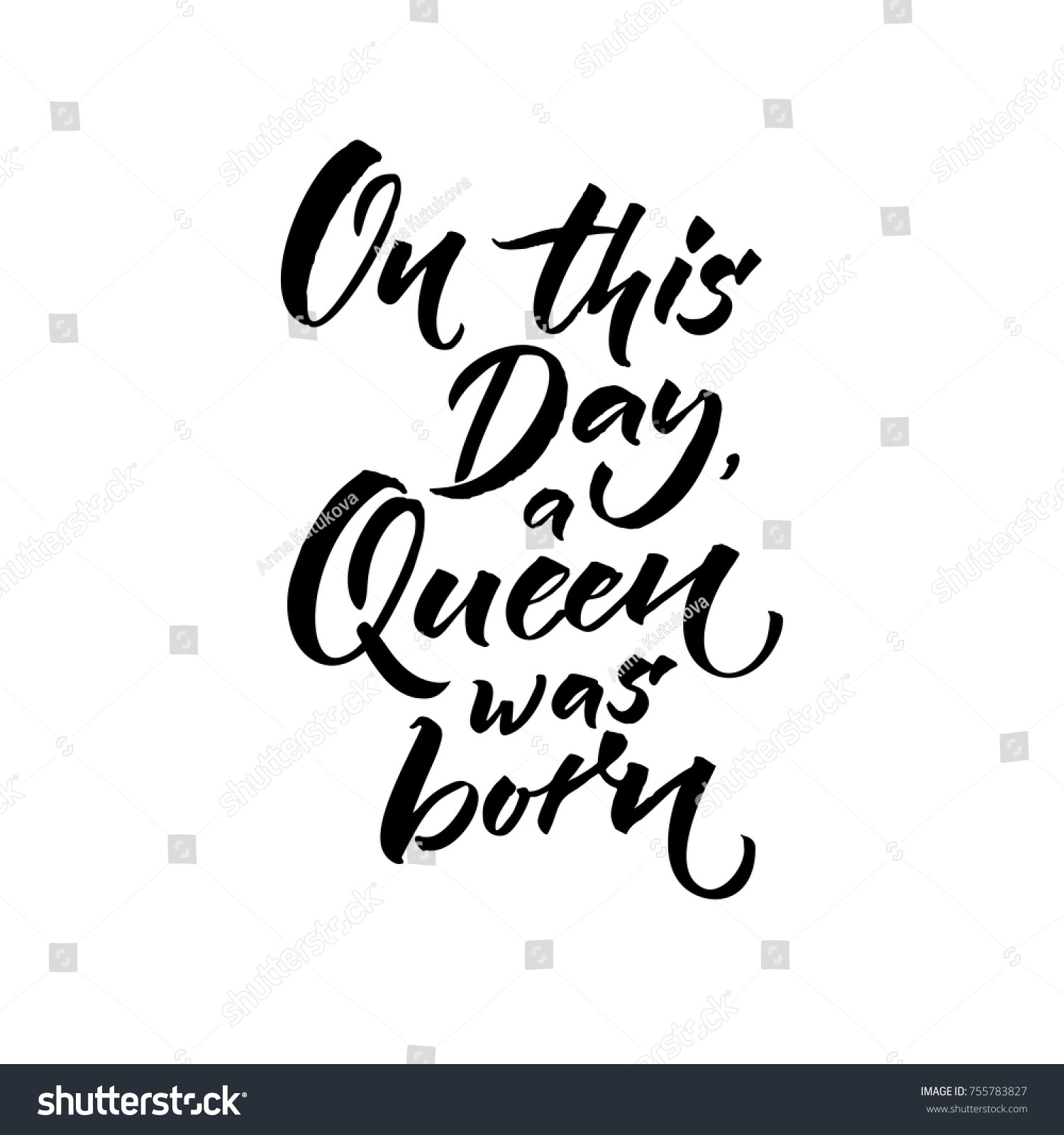 On This Day Queen Born Happy Stock Vector 755783827