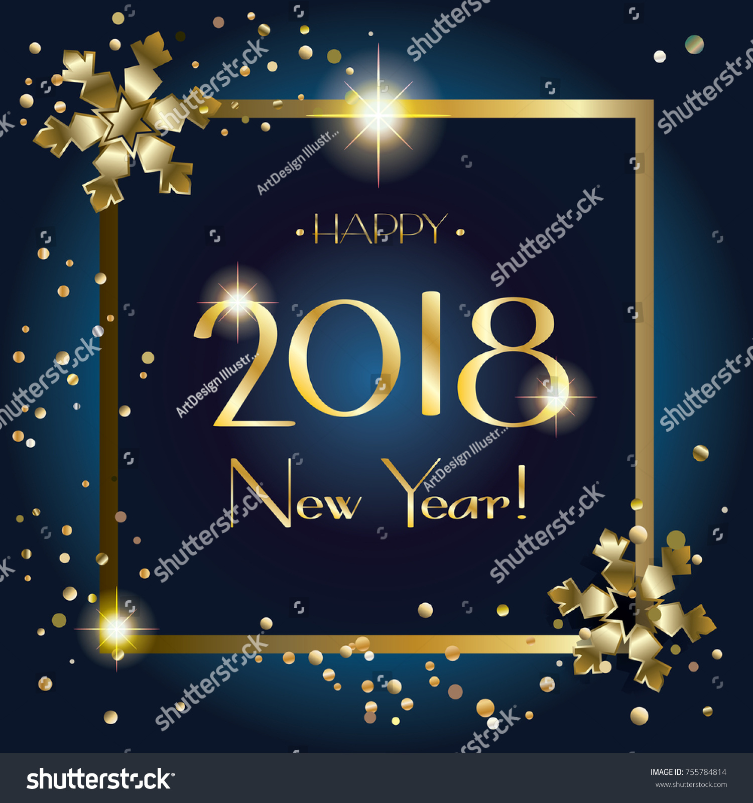 2018 Happy New Year Greeting Card Stock Illustration 755784814
