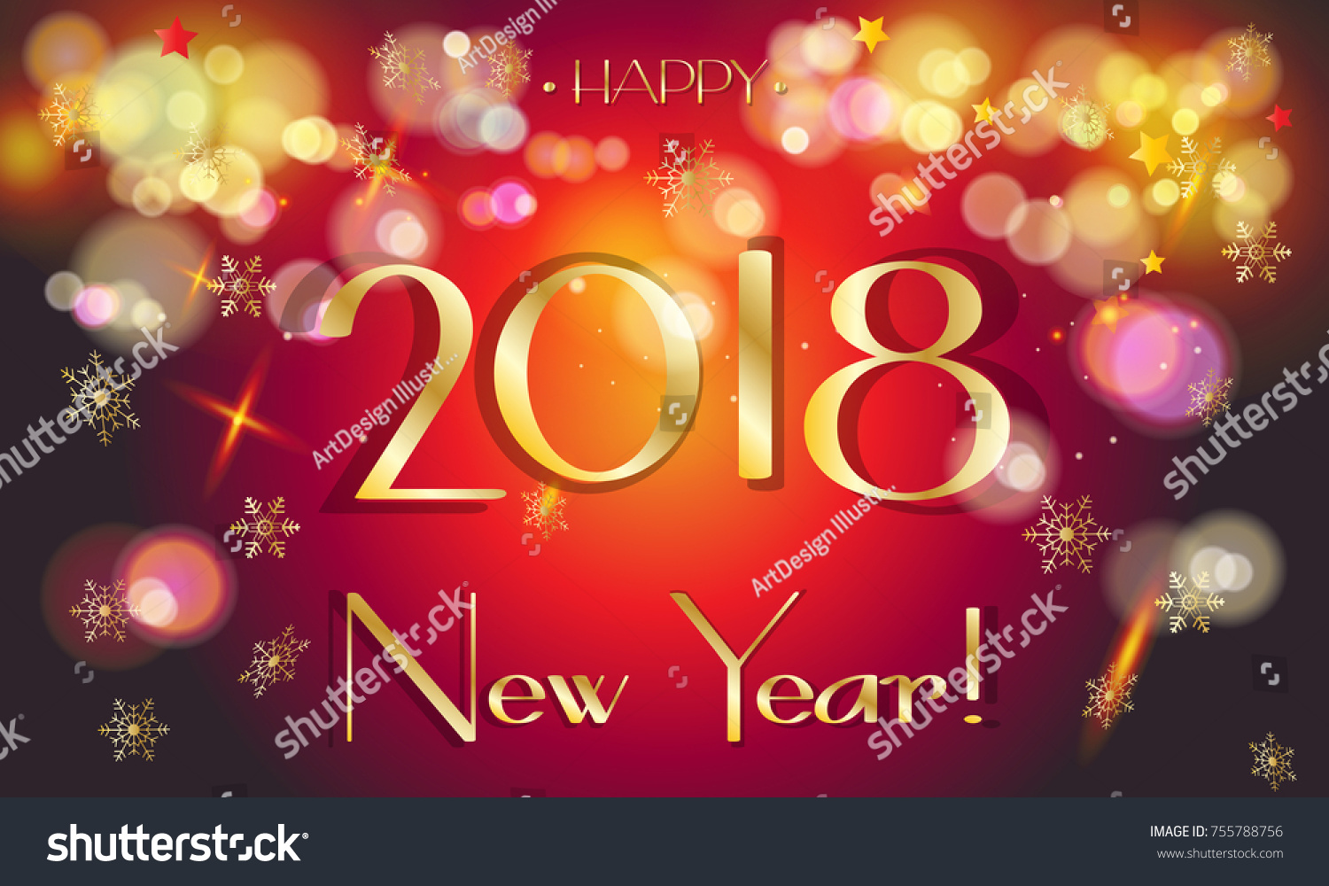 2018 Happy New Year Greeting Card Stock Illustration 755788756