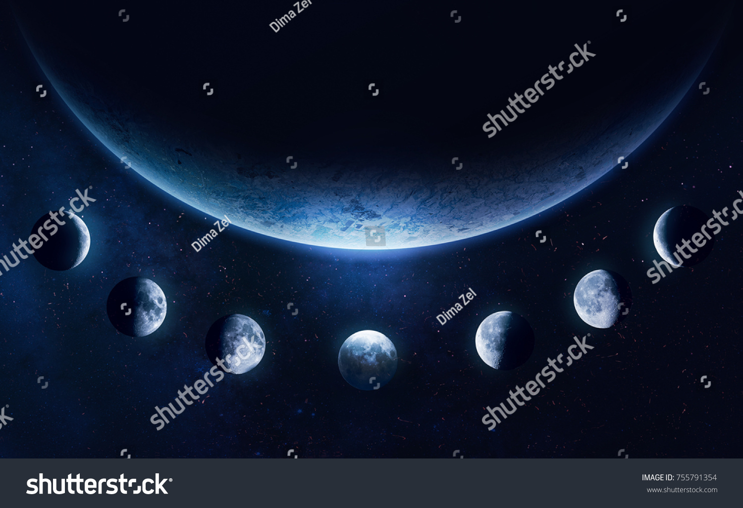 Earth Planet Moon Phases Blue Space Stock Photo Edit Now 755791354