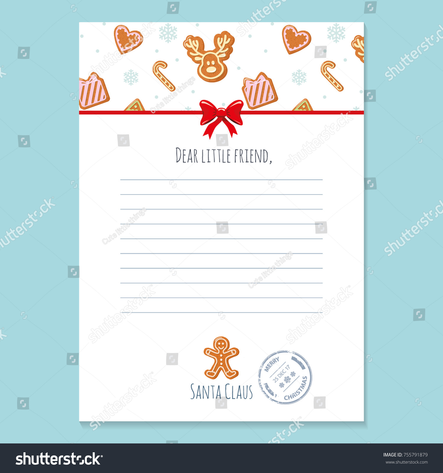 Christmas letter santa claus template layout stock vector 755791879 christmas letter from santa claus template layout in a4 size pattern with gingerbread cookies spiritdancerdesigns Image collections