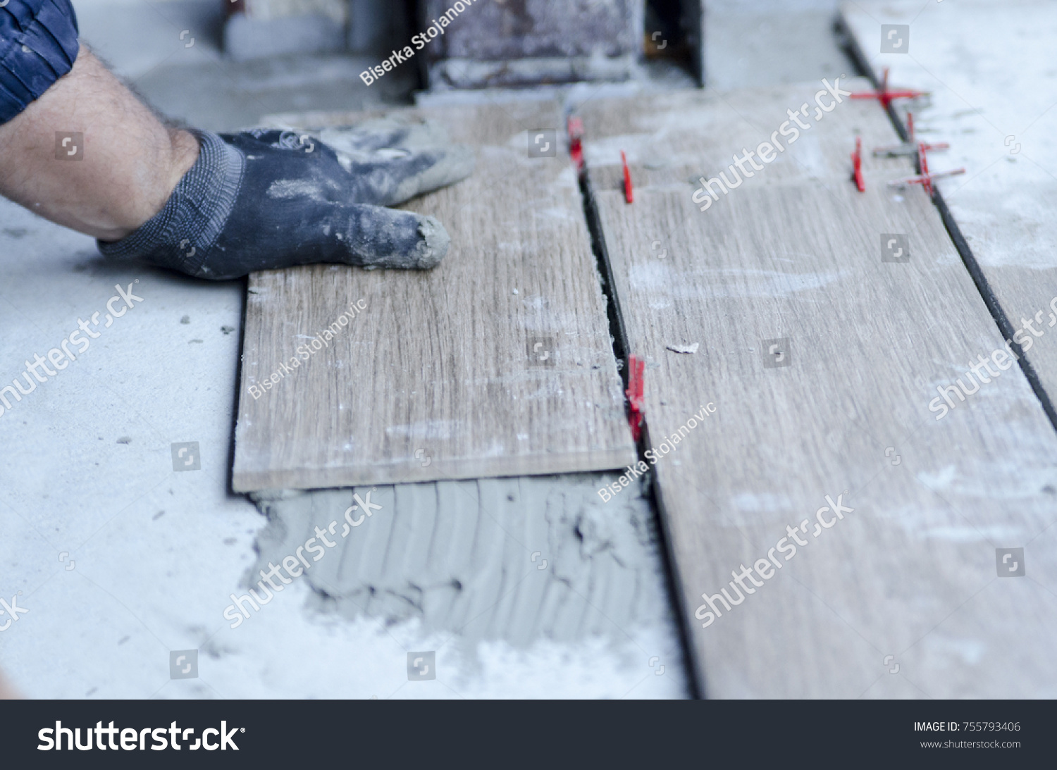 Man Making Ceramic Tile Floor Terrace Stock Photo (Edit Now ...