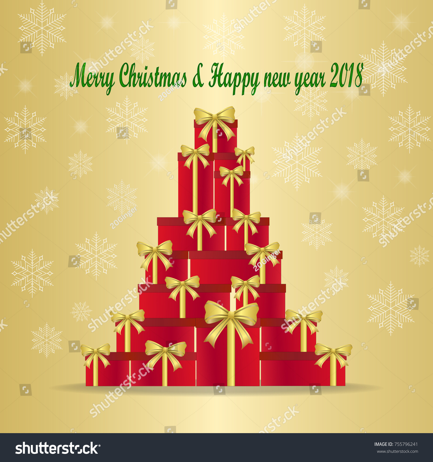 Red gift box gold bow words stock vector 755796241 shutterstock red gift box with gold bow and words merry christmas happy new year 2018 kristyandbryce Choice Image