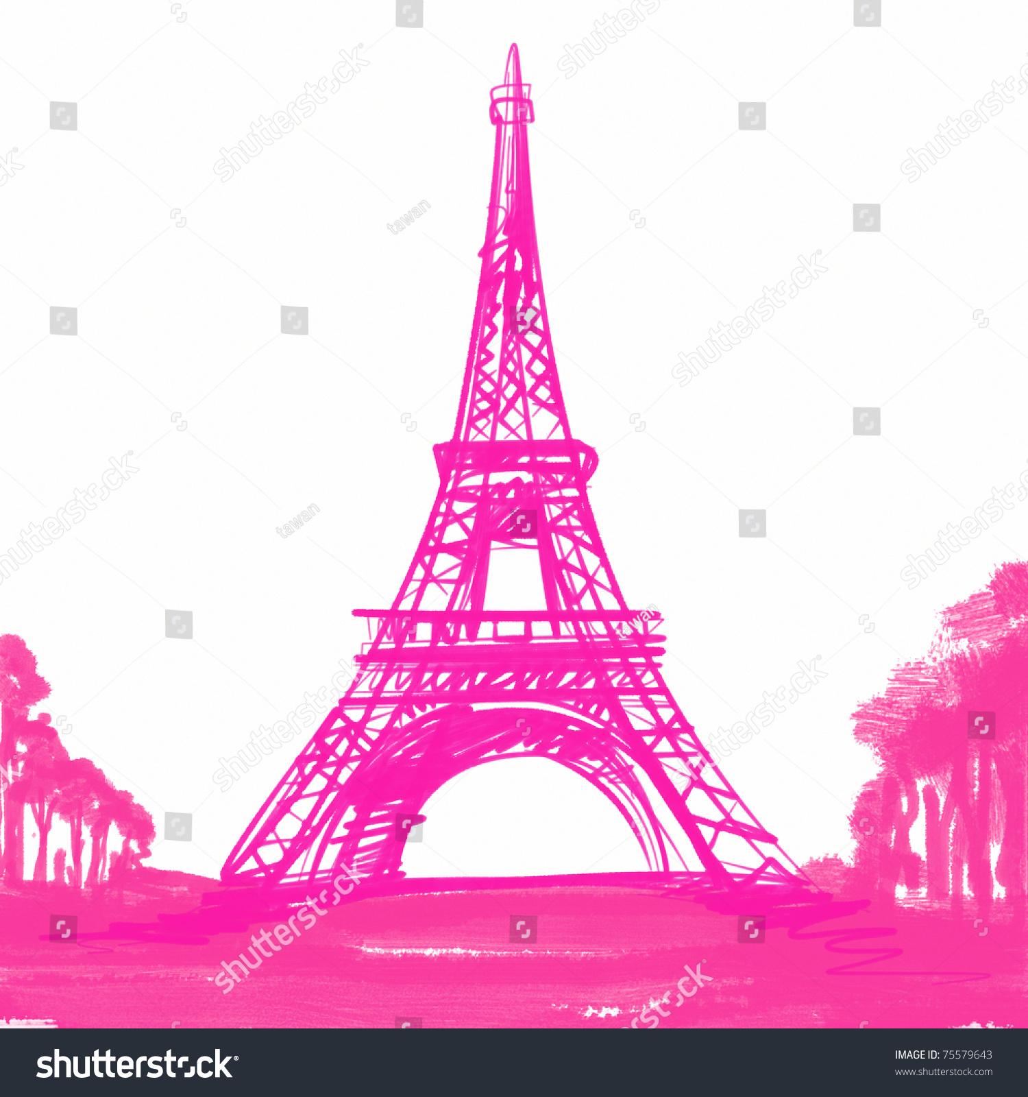 As Creation Pink Paris Pattern Eiffel Tower Childrens: Pink Eiffel Tower Paris Europe Stock Illustration 75579643