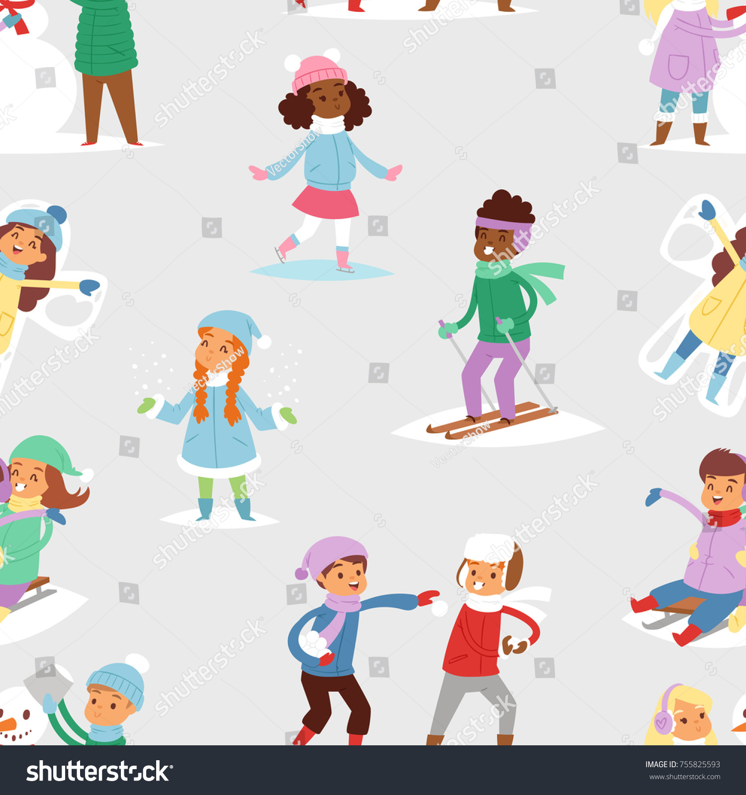 Winter Christmas Kids Vector Playing Games Stock Vector (Royalty ...