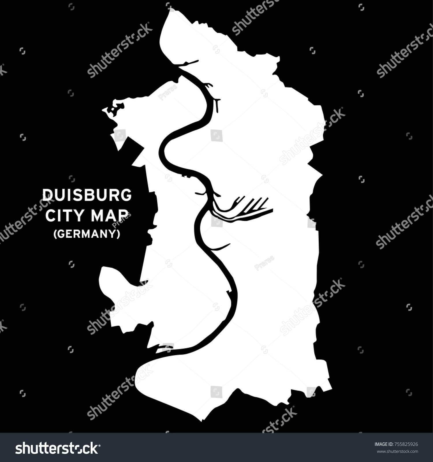 Duisburg Germany Map Vector Stock Vector 755825926 Shutterstock
