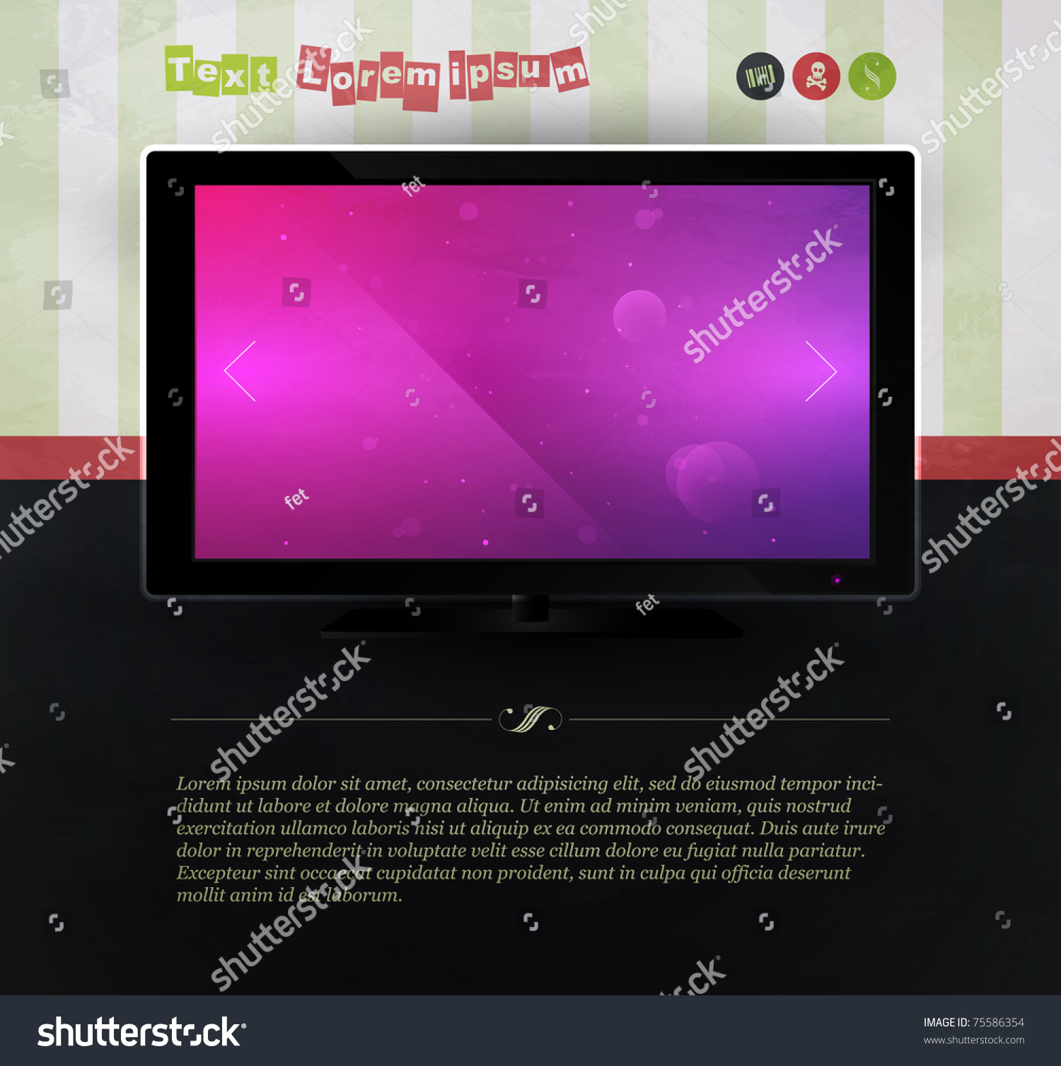 Tv against the wall with wallpaper website template stock for Wallpaper for walls websites