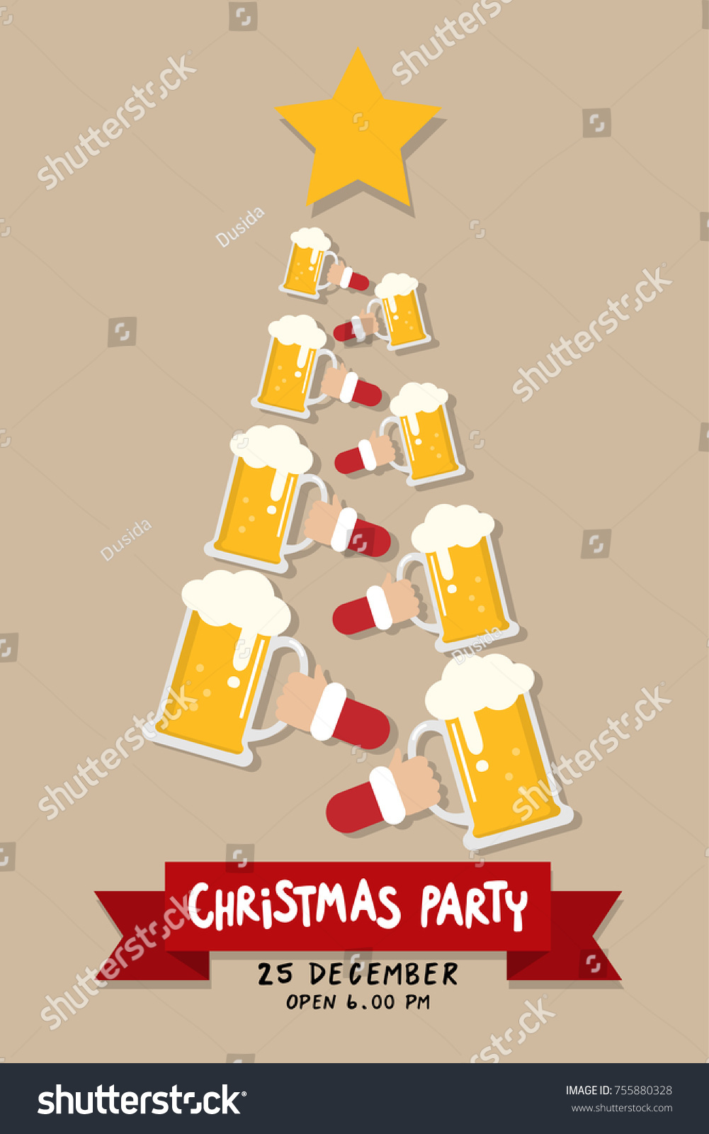 Christmas Party Invitation Card Hipster Beer Stock Vector 755880328 ...