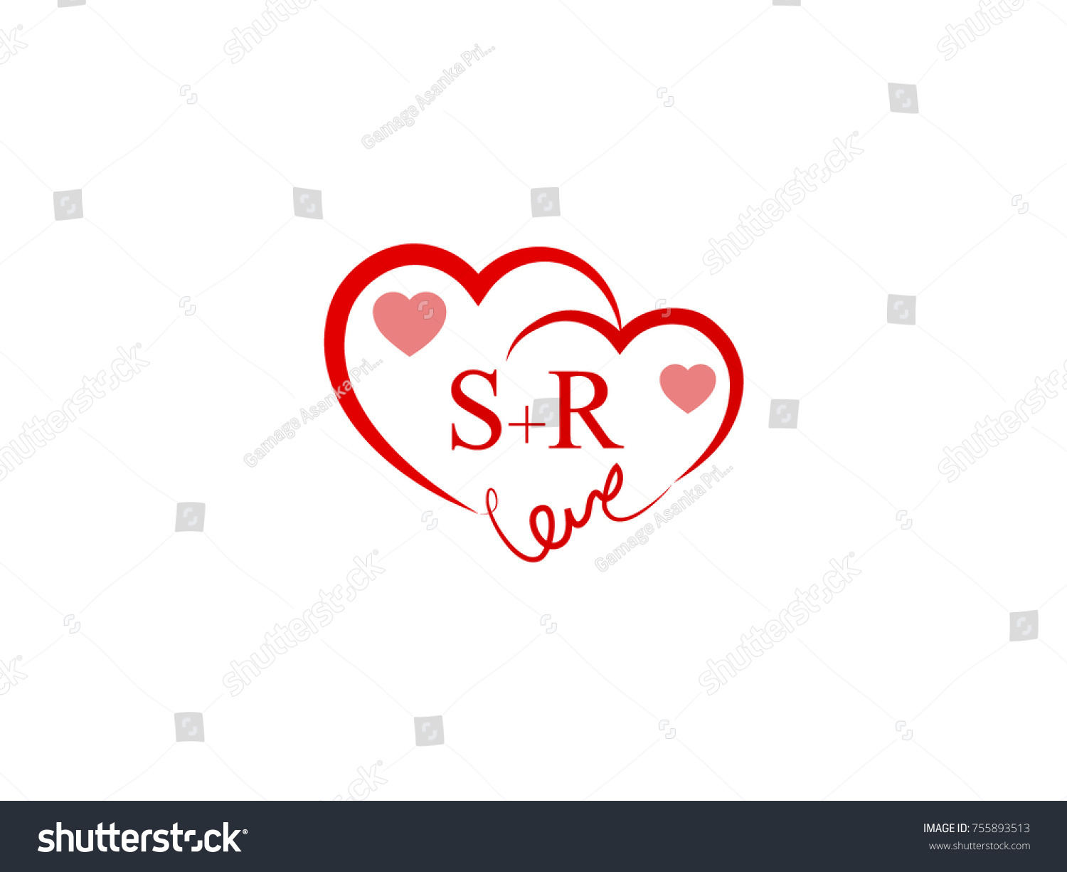 Sr Initial Wedding Invitation Love Logo Stock Vector Royalty Free
