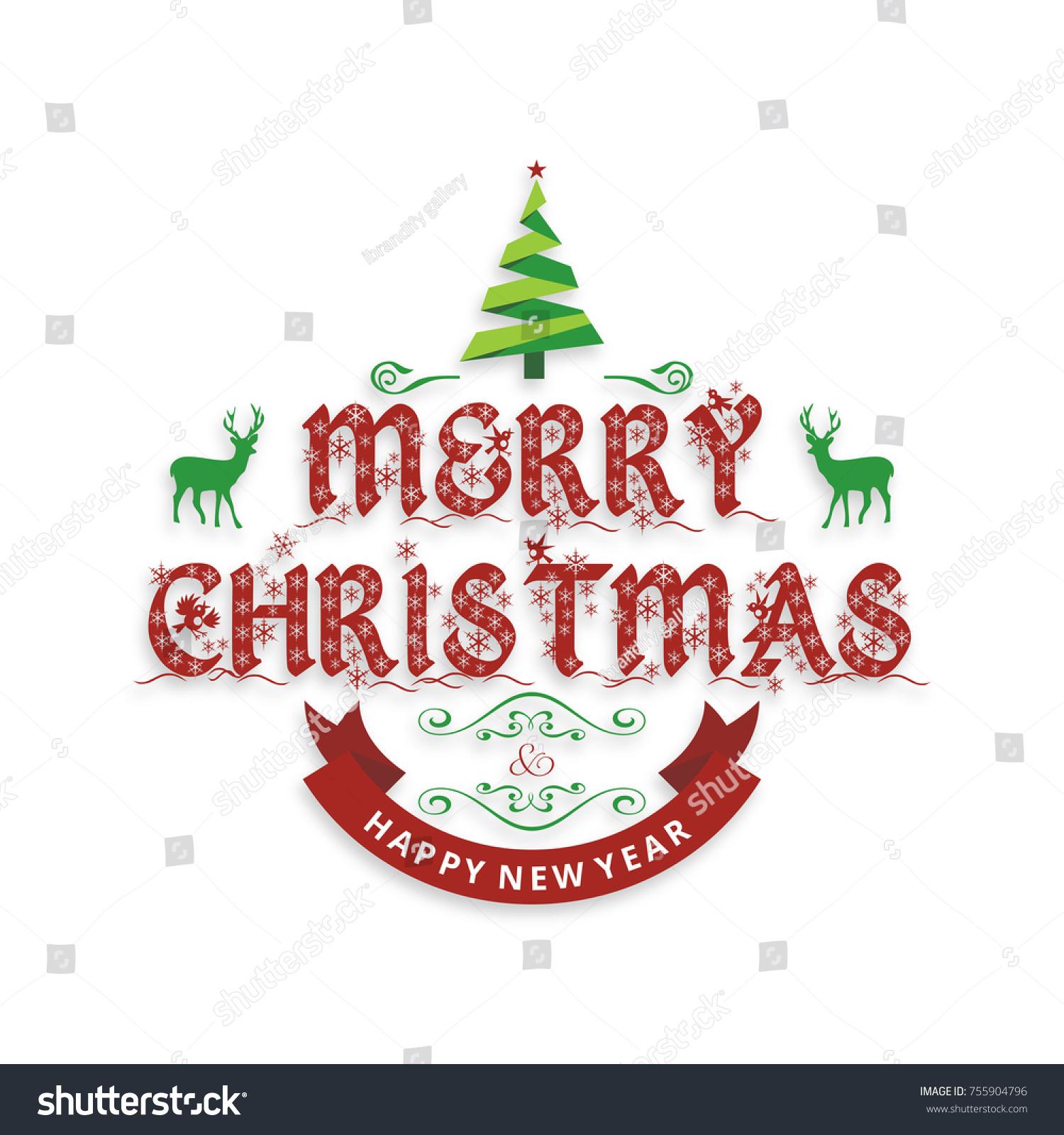 2018 merry christmas happy new year stock vector 755904796