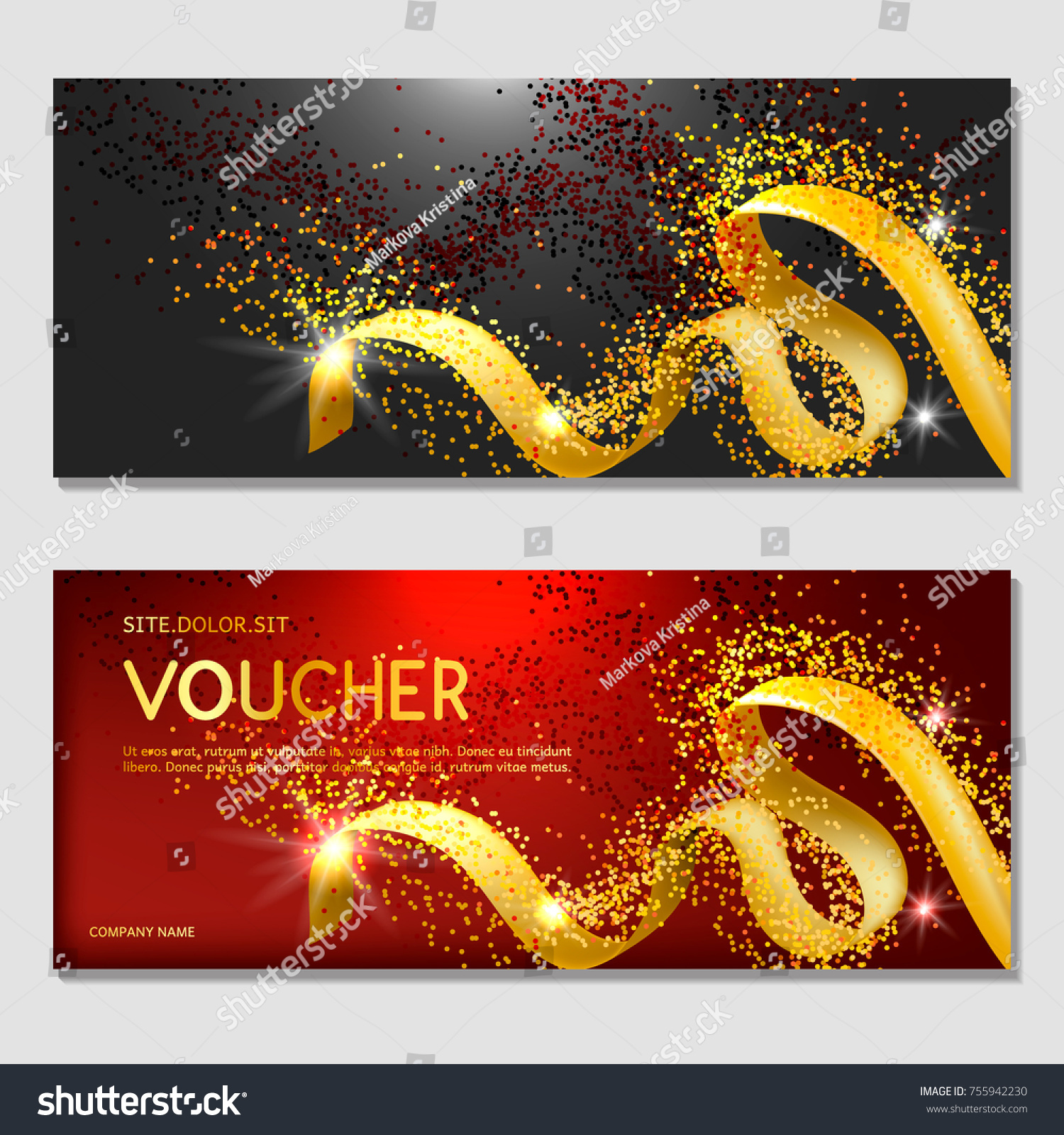 Horizontal Gift Invitation Golden Ribbon Confetti Stock Vector ...
