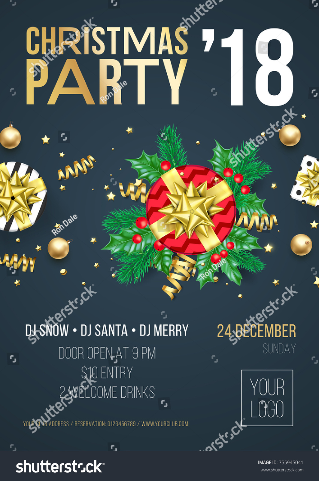 Christmas Party Invitation Poster Welcome Banner Stock Vector