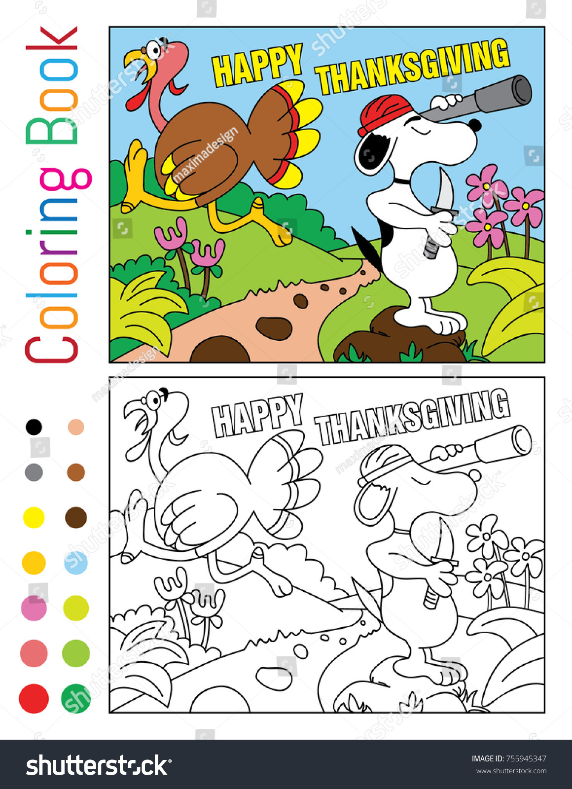 Happy Thanksgiving Coloring Book Turnkey Snoopy Stock Photo (Photo ...