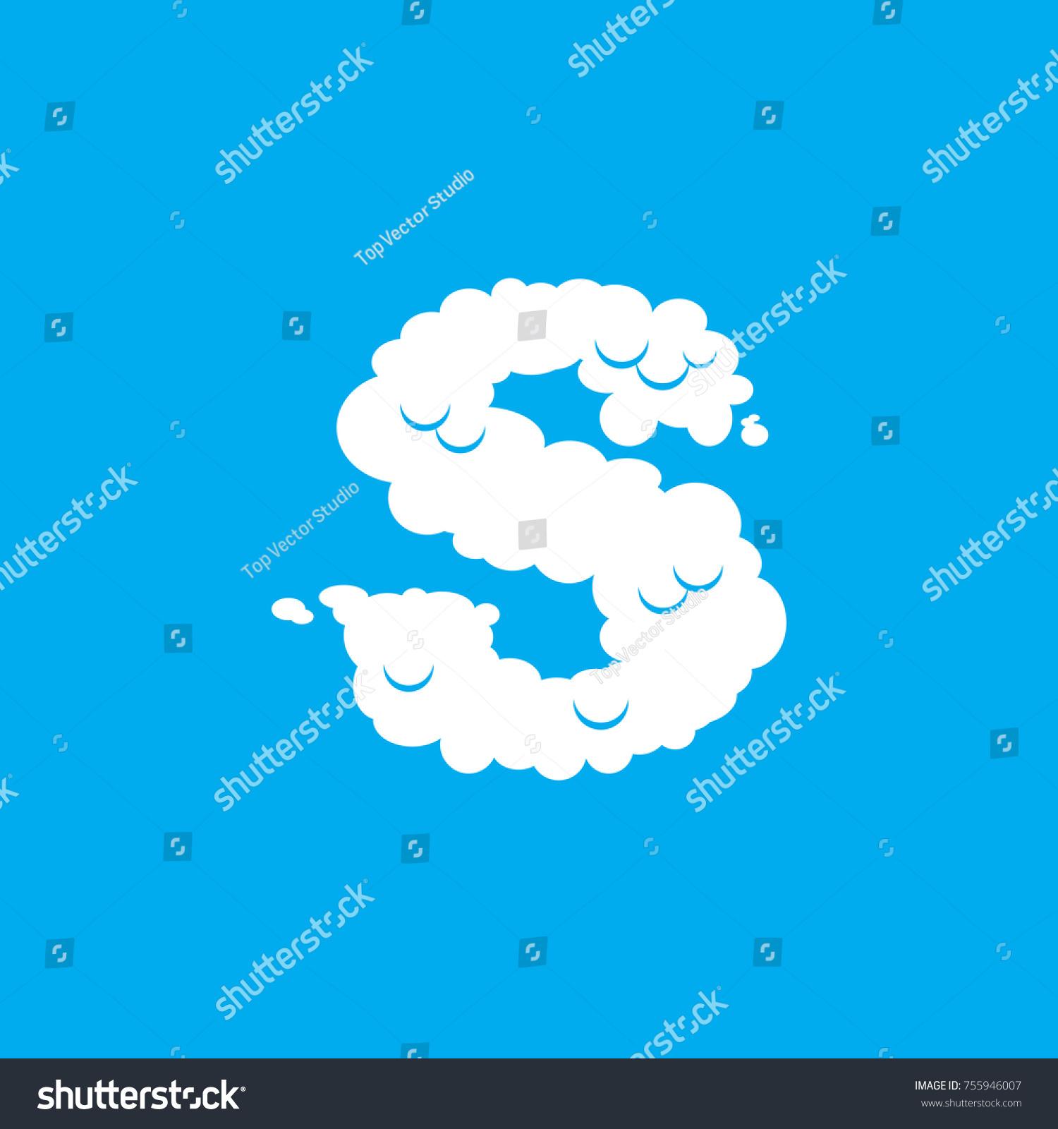 Letter s cloud font symbol white stock illustration 755946007 letter s cloud font symbol white alphabet sign on blue sky biocorpaavc