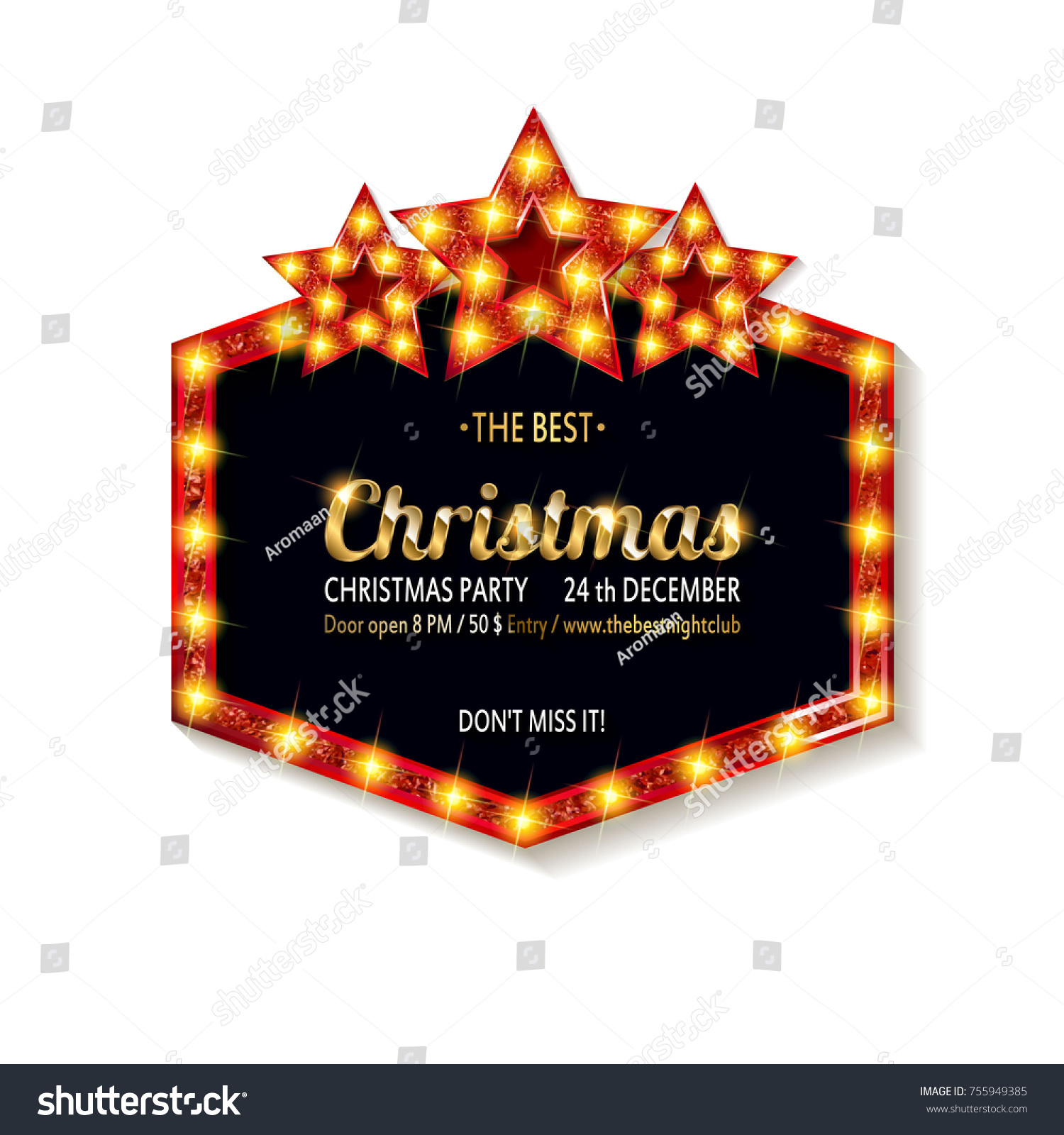 Vector Christmas Party Invitation Holiday Background Stock Vector ...