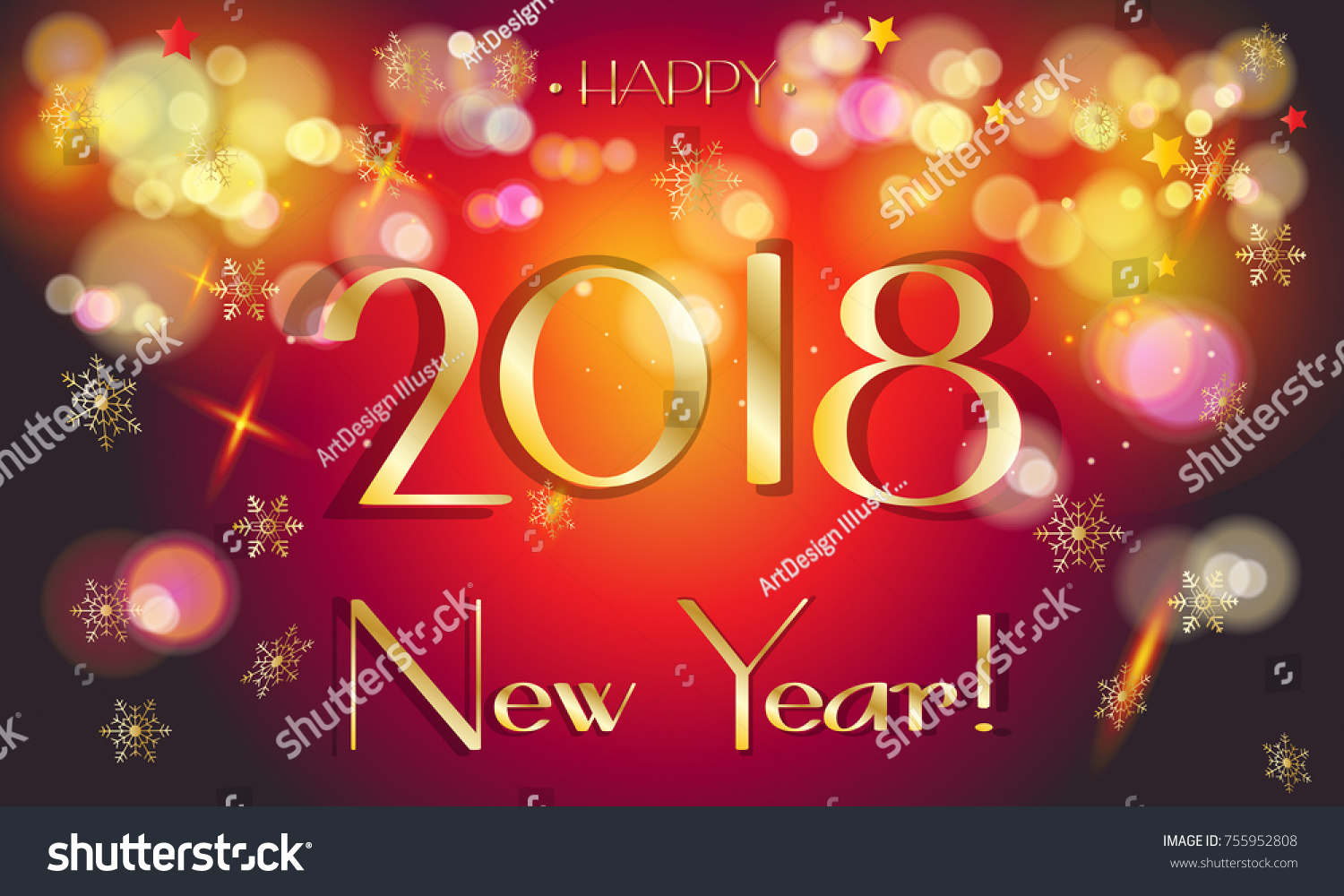 2018 Happy New Year Winter Holiday Stock Vector 755952808 Shutterstock