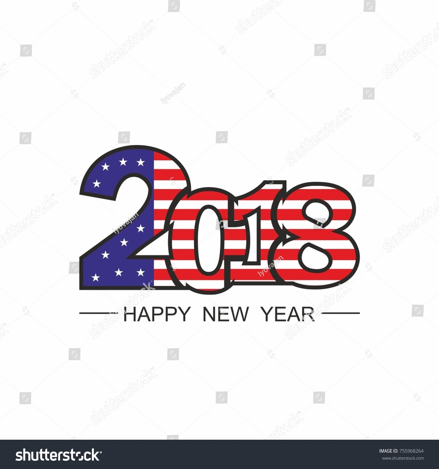 happy new year 2018 text design vector on white background usa united states of