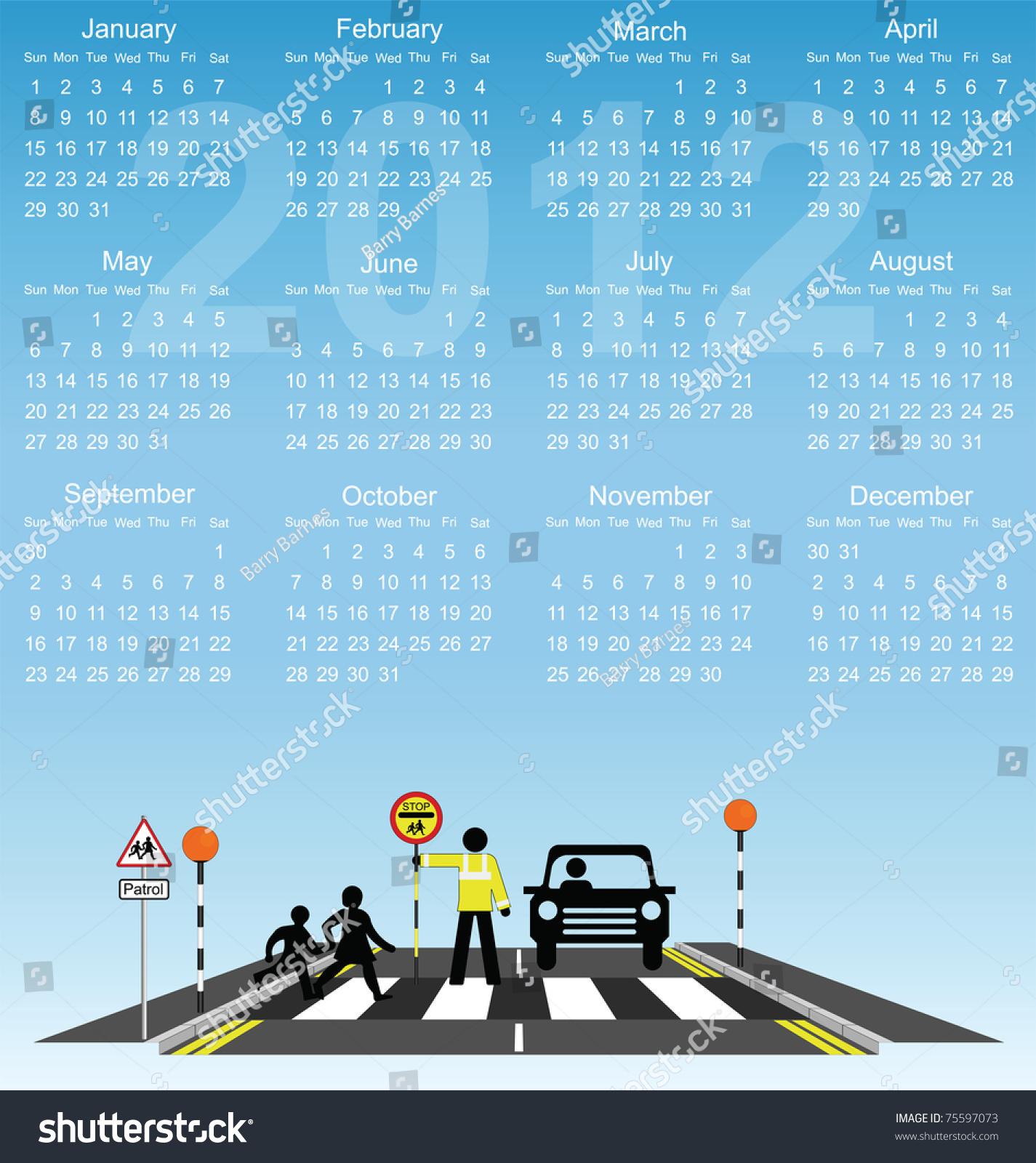 Kids Safety Calendar : Calendar children school cross road stock