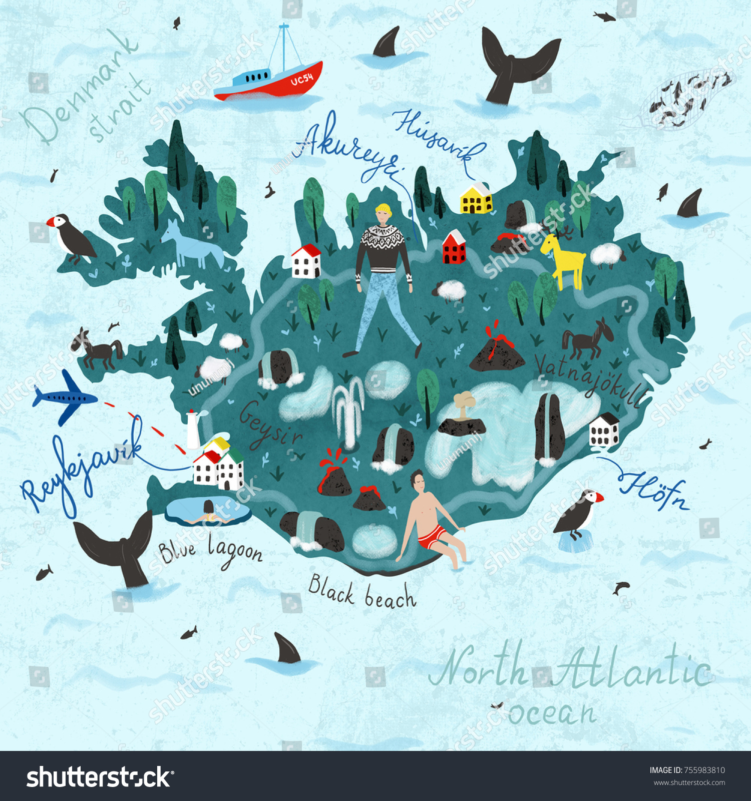 Hand drawn illustration iceland map digital stock illustration hand drawn illustration of iceland map digital art great for guidebooks magazines sciox Gallery