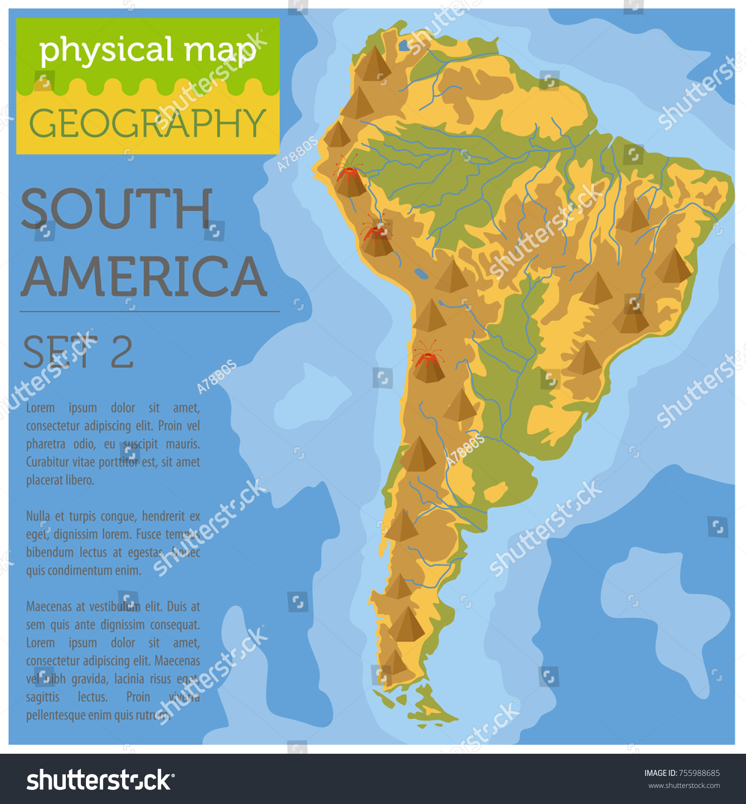 South America Physical Map Elements Build Stock Vector 755988685